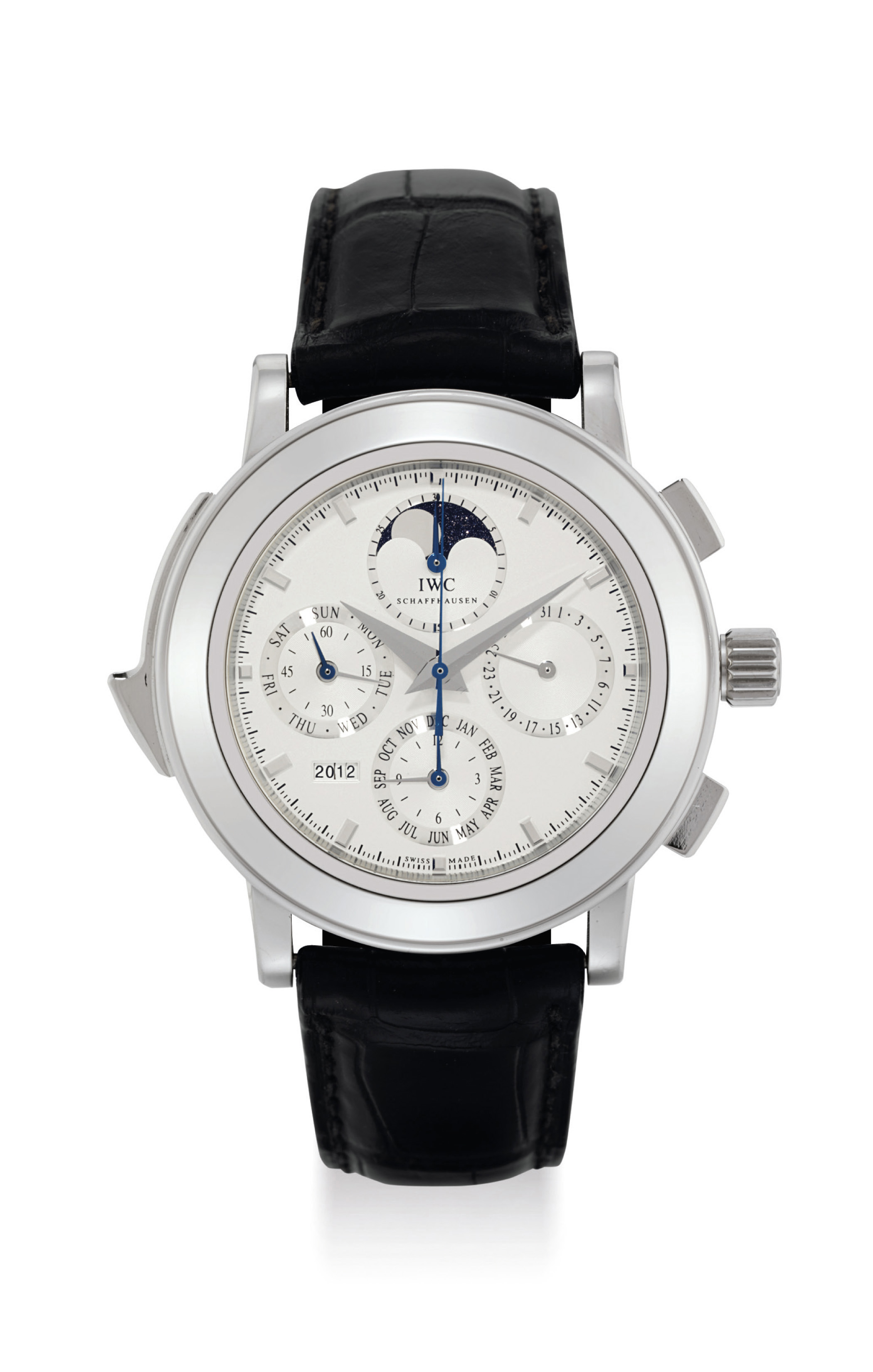 IWC. A FINE, LARGE, HEAVY AND VERY RARE PLATINUM LIMITED EDITION AUTOMATIC PERPETUAL CALENDAR MINUTE REPEATING CHRONOGRAPH WRISTWATCH WITH MOON PHASES AND YEAR DISPLAY