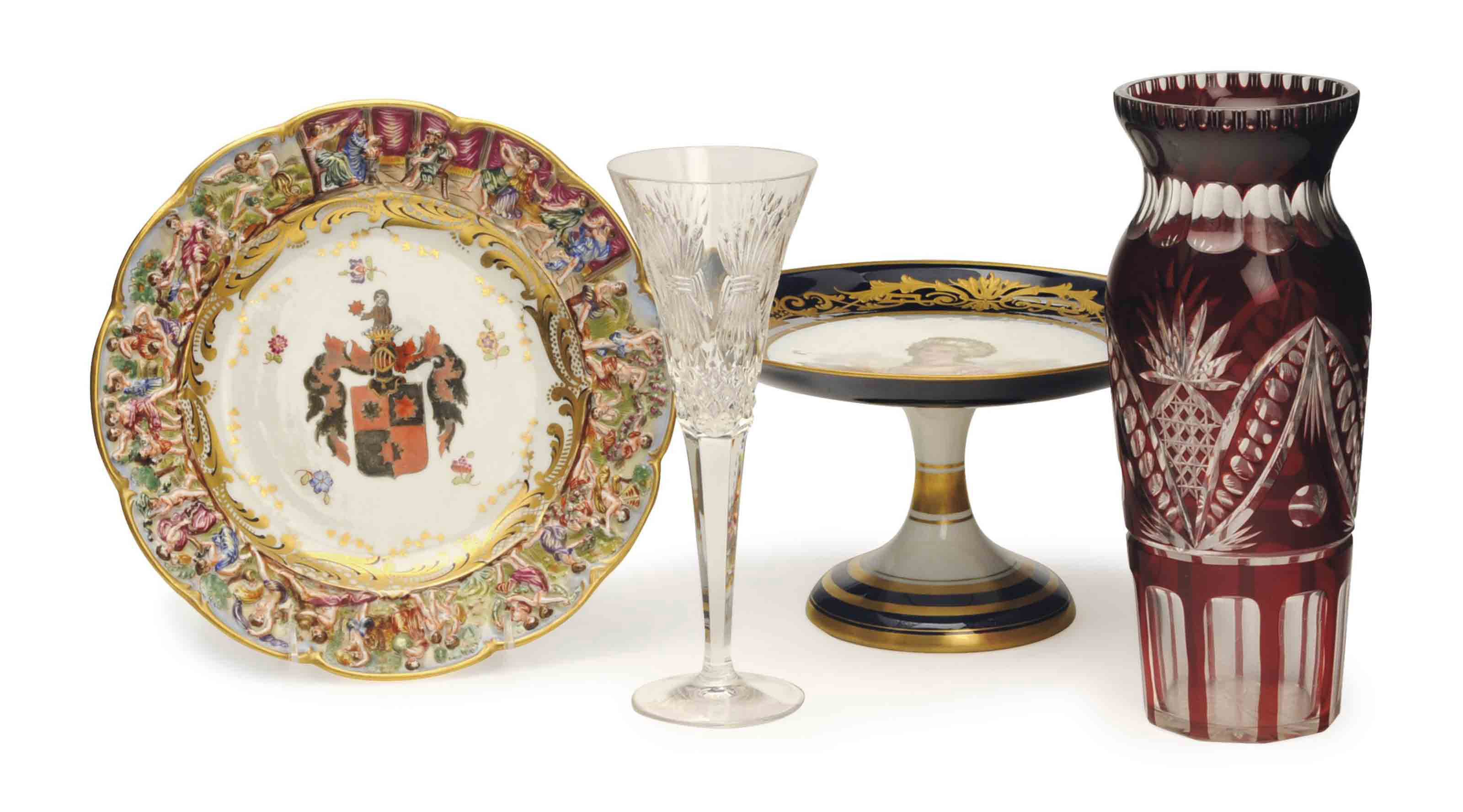 A GROUP OF CONTINENTAL PORCELAIN AND CUT GLASS,