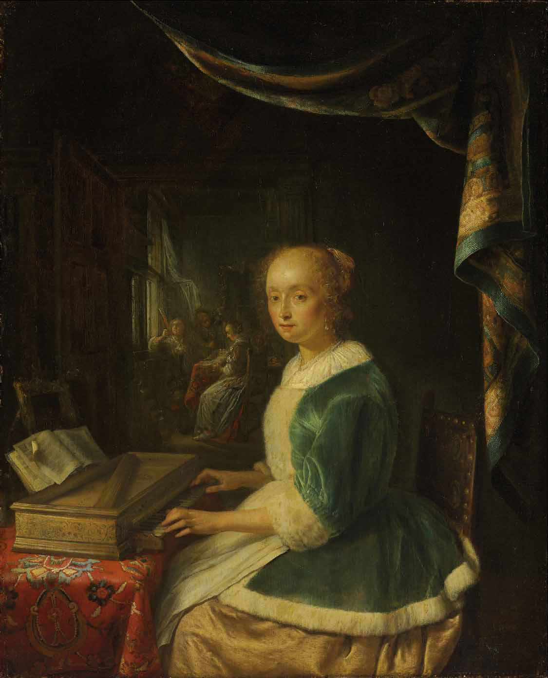 A young lady playing a clavichord