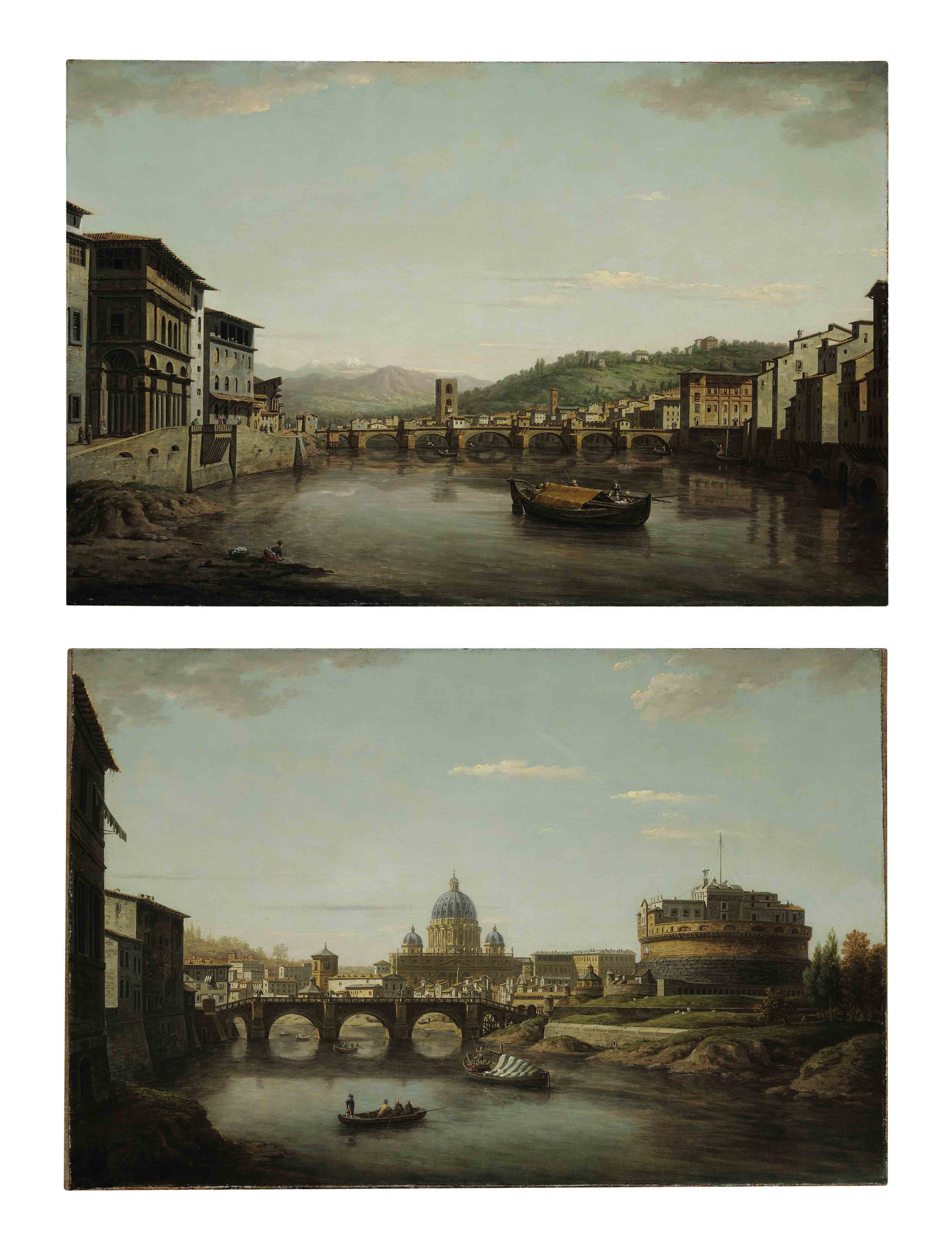 View of Florence from the Ponte Vecchio looking up the Arno toward the Ponte alle Grazie with the entrance to the Uffizi on the left; and View of Rome with Saint Peter's and the Castel Sant'Angelo seen from the Tiber