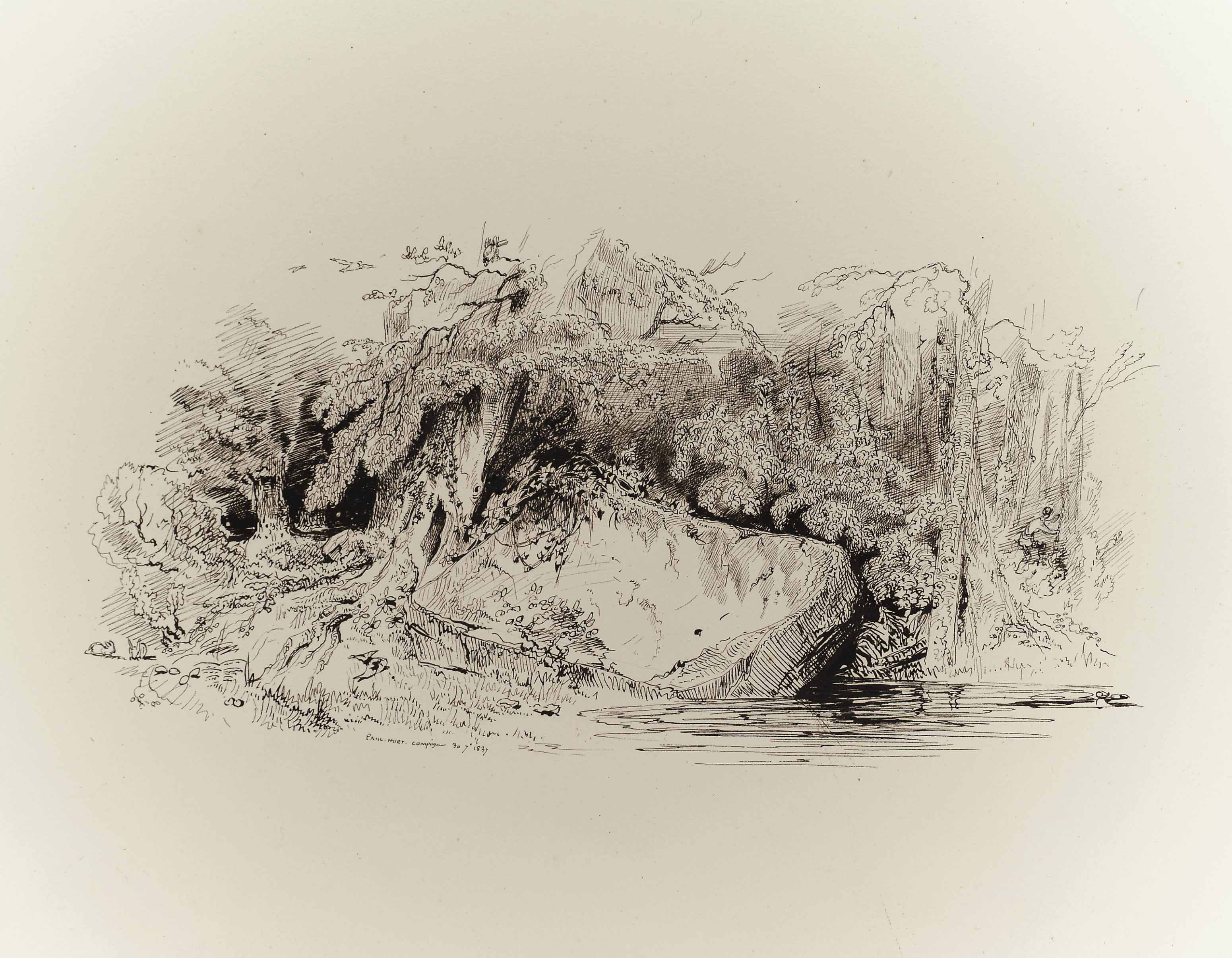 A pool in a rocky wooded landscape, a hunter and his dog beyond