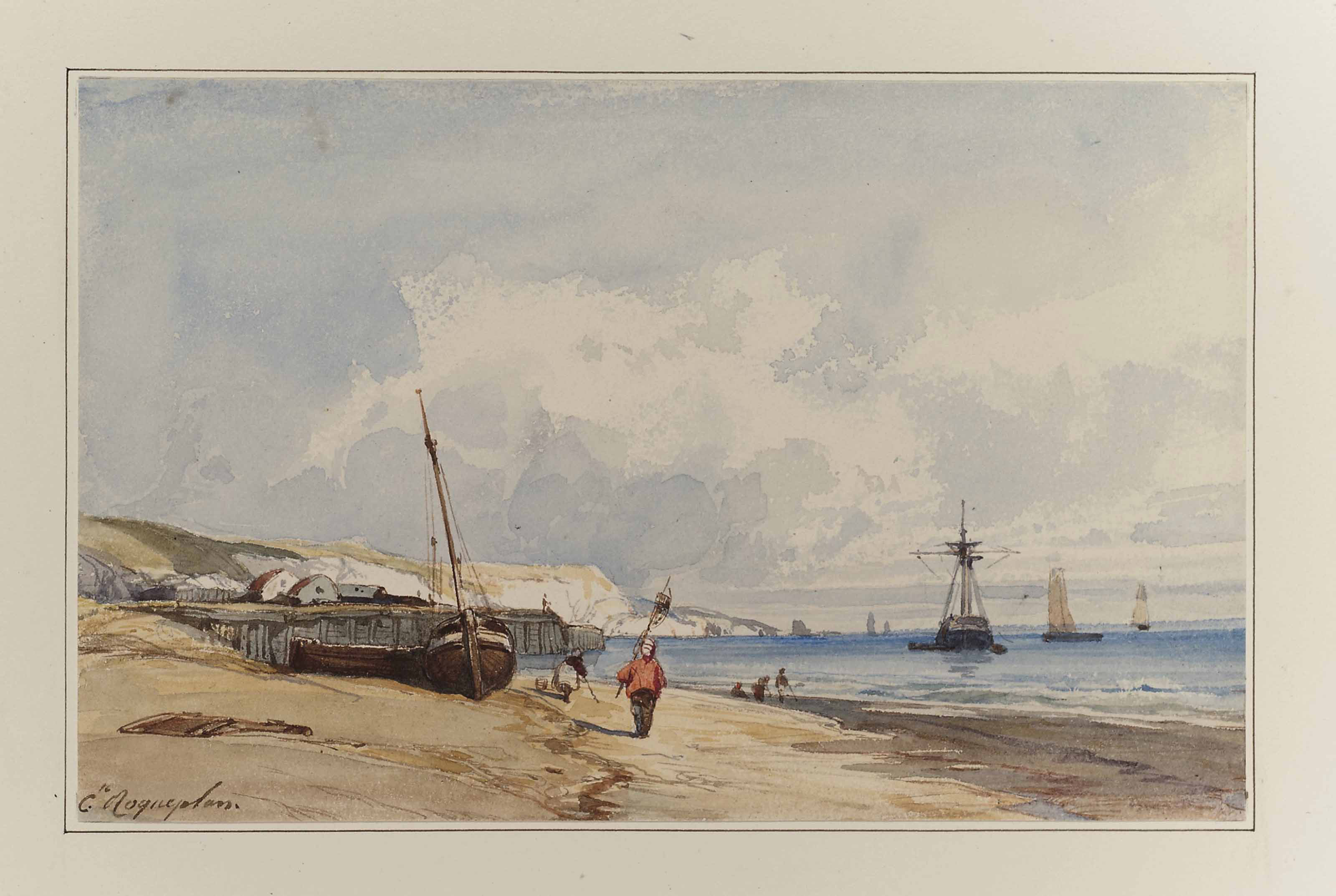 Fishermen and vessels on a beach in Normandy