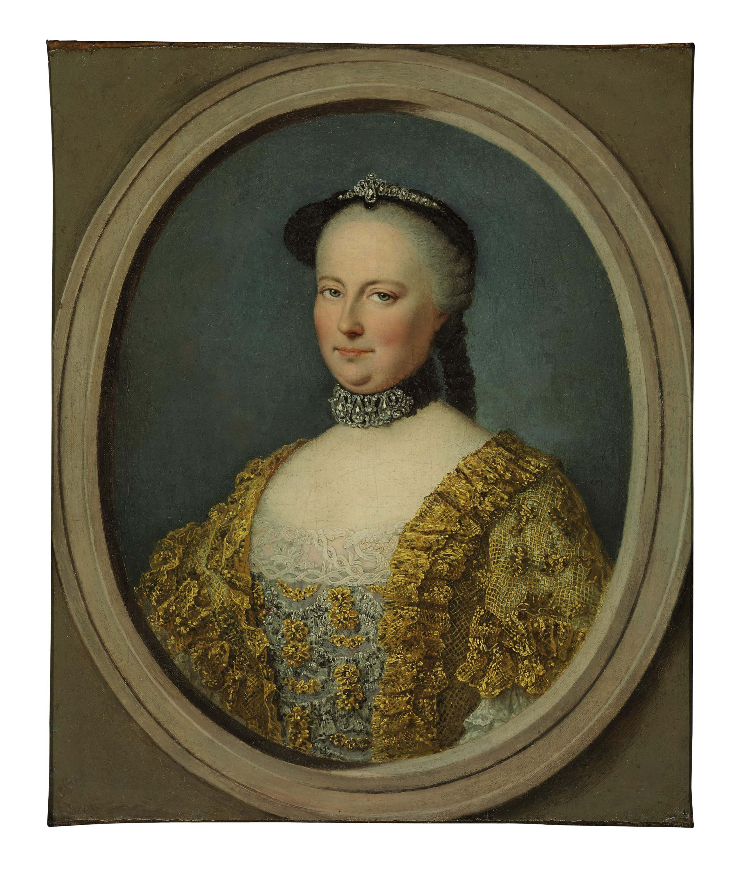 Portrait of Maria Theresa, Empress of Austria, half-length, in a feigned stone oval