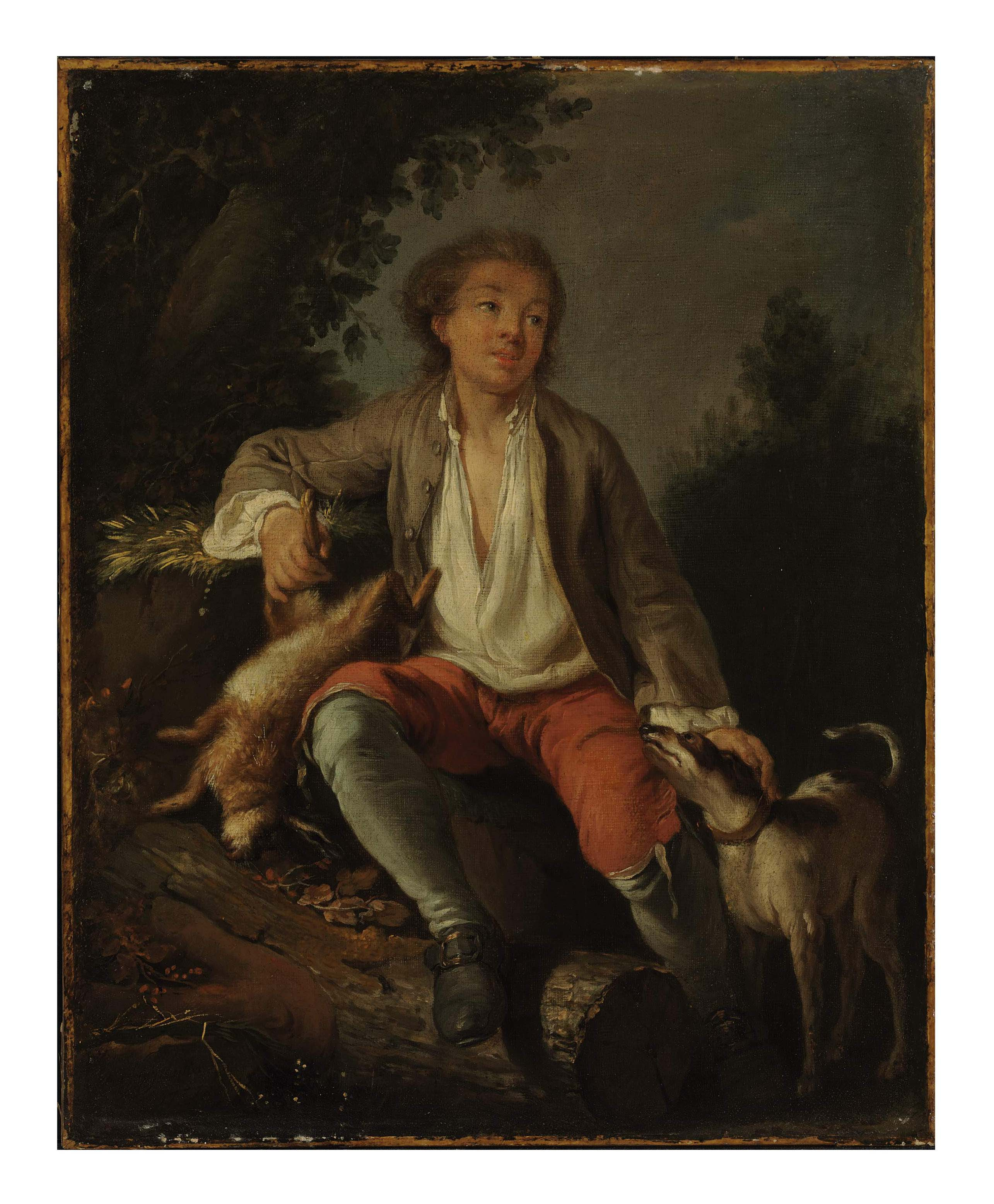 A young woman with a dog in a landscape; and a companion painting of a young hunter with a dog in a landscape