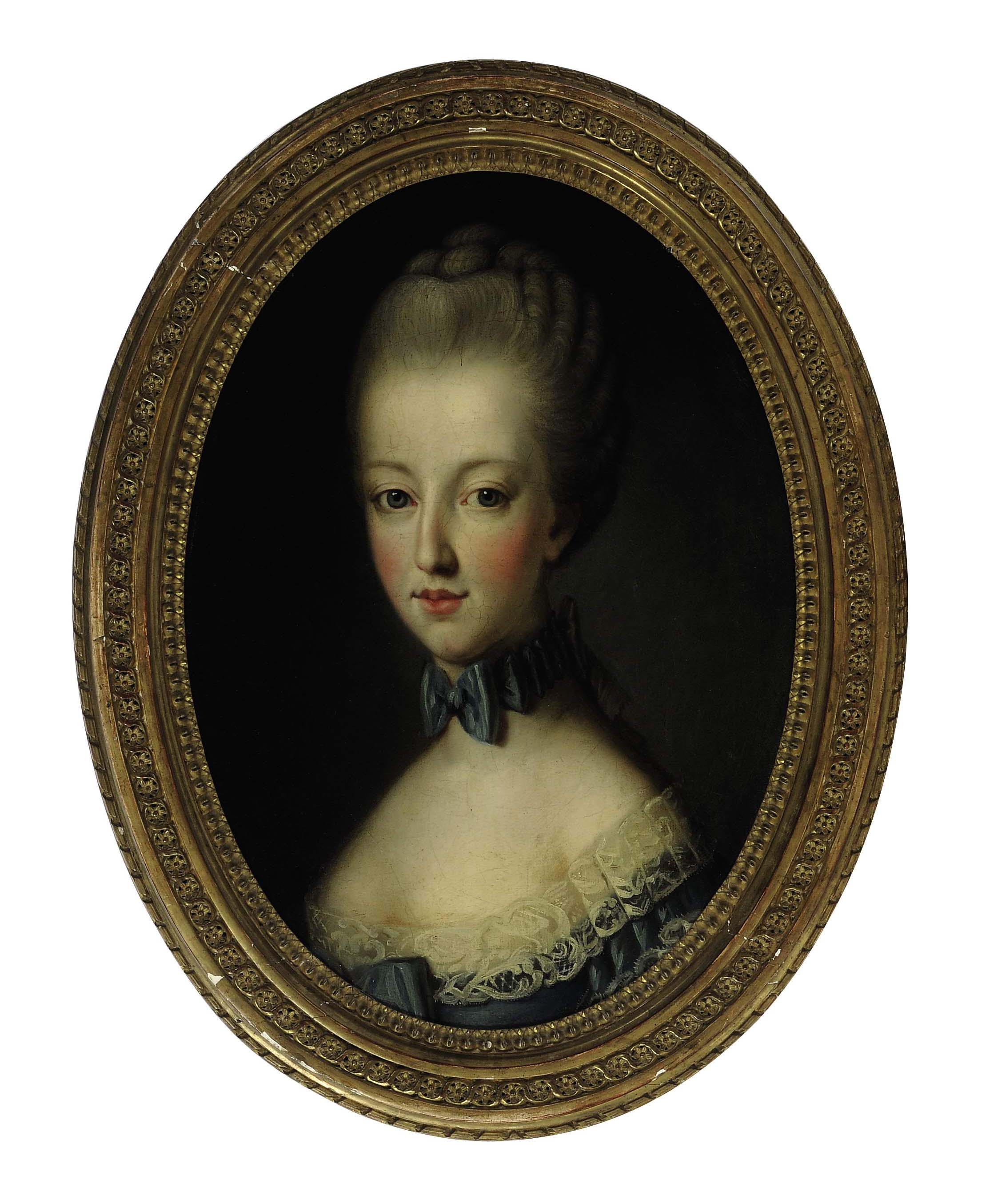 Portrait of a young lady wearing a blue ribbon