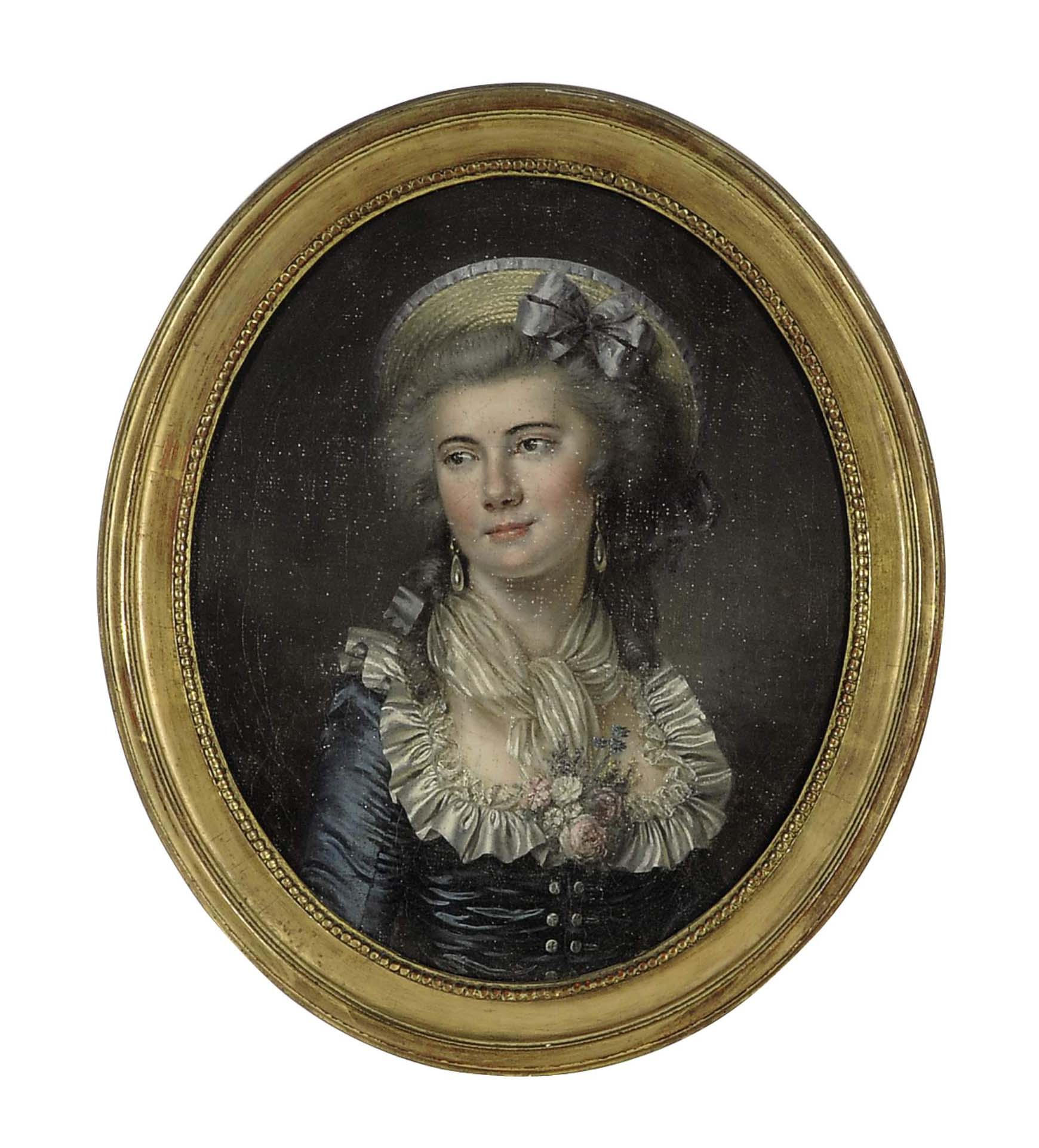 Portrait of a lady wearing a blue dress and a hat