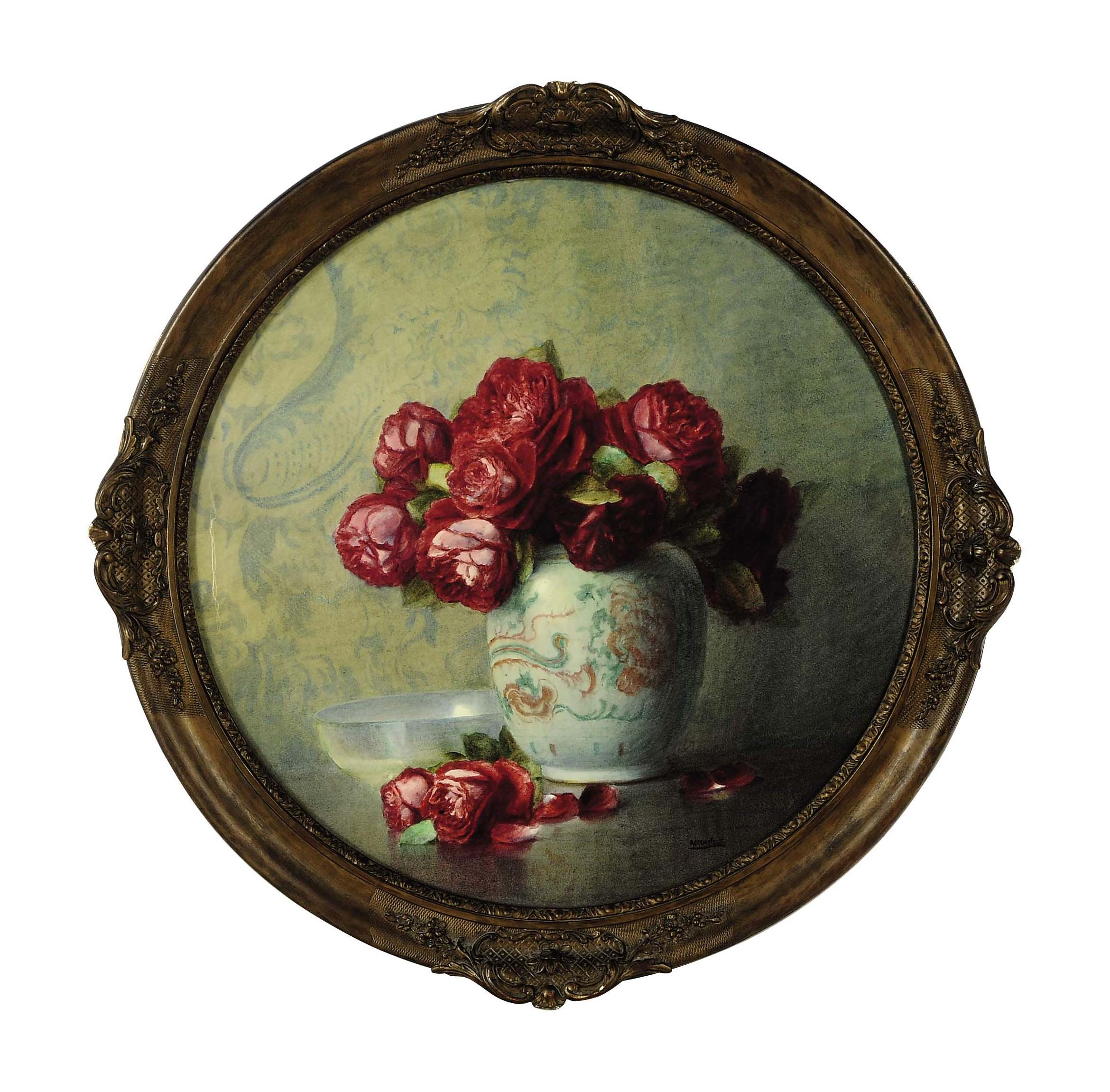 Still life of red roses in a vase