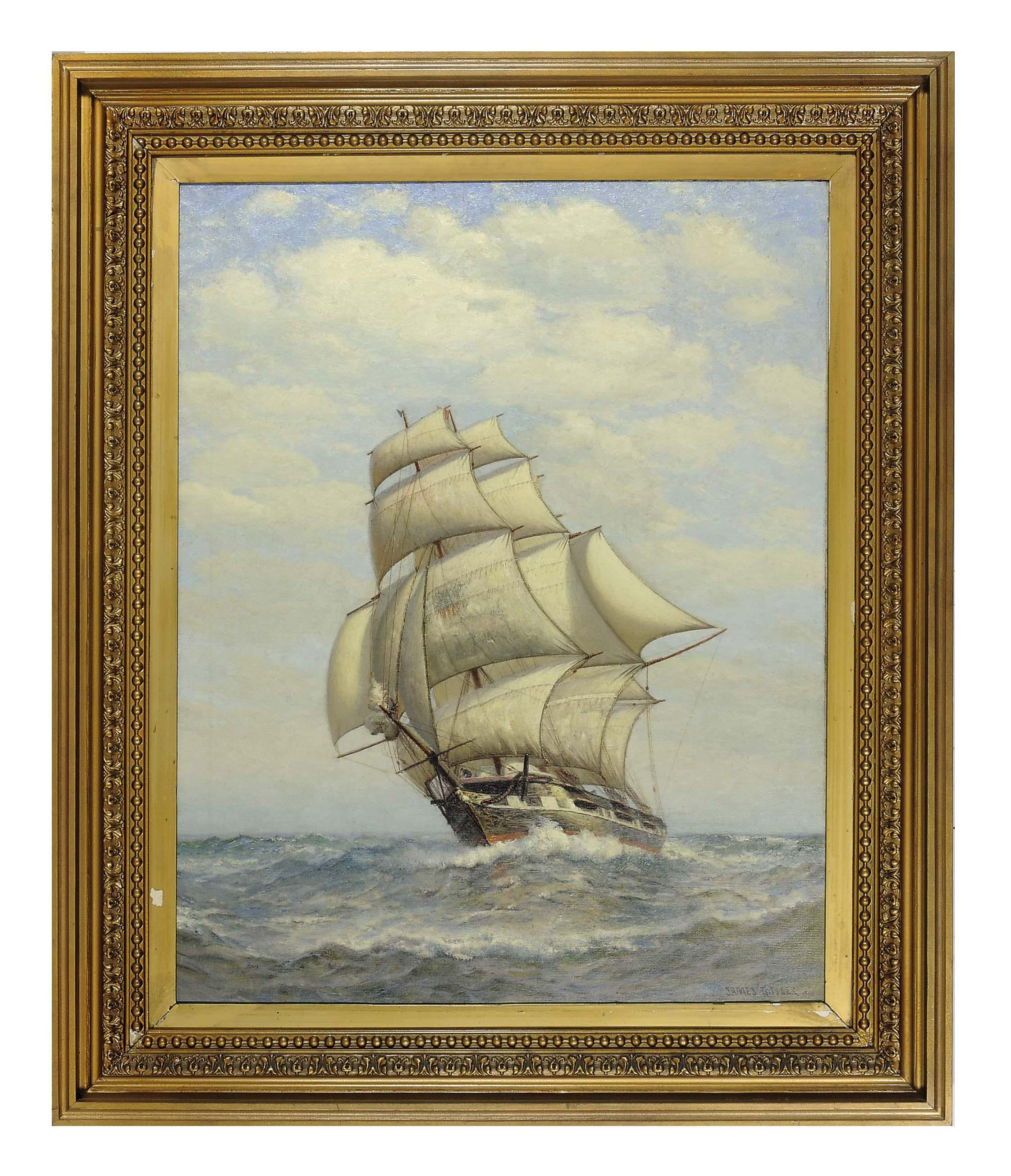 A square rigged ship at sea