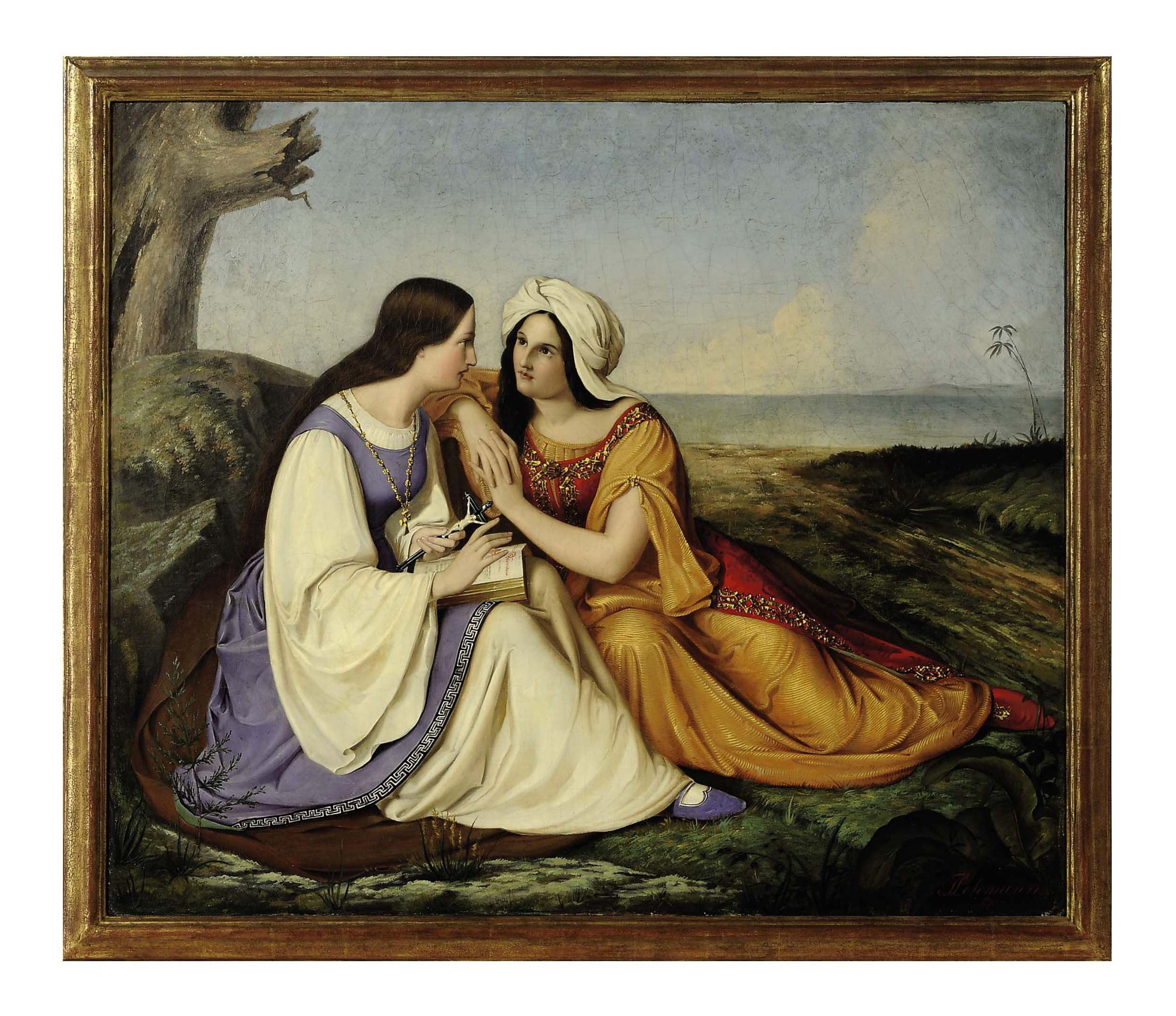 Two women conversing in a landscape