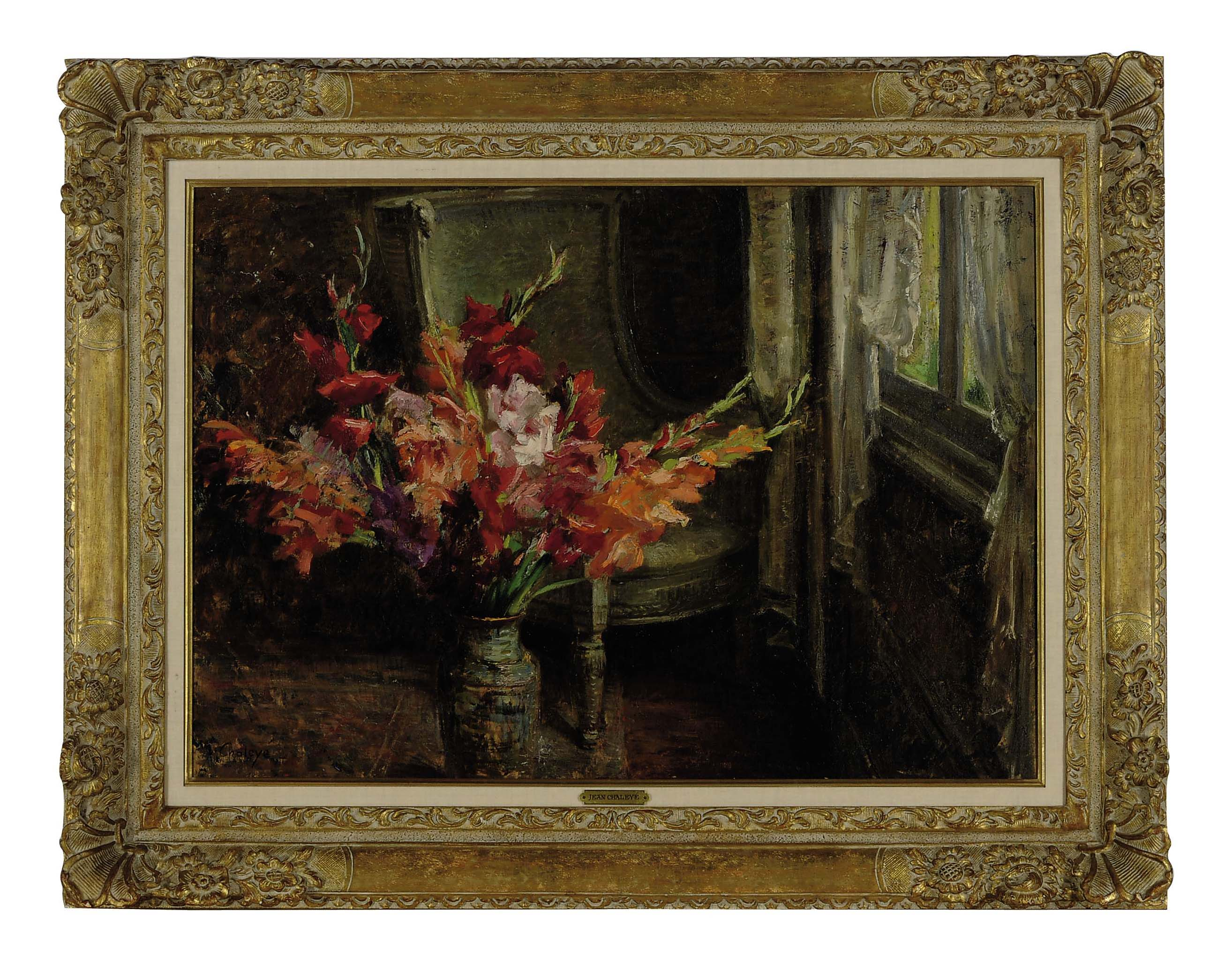 Still life of flowers in a porcelain vase by a window
