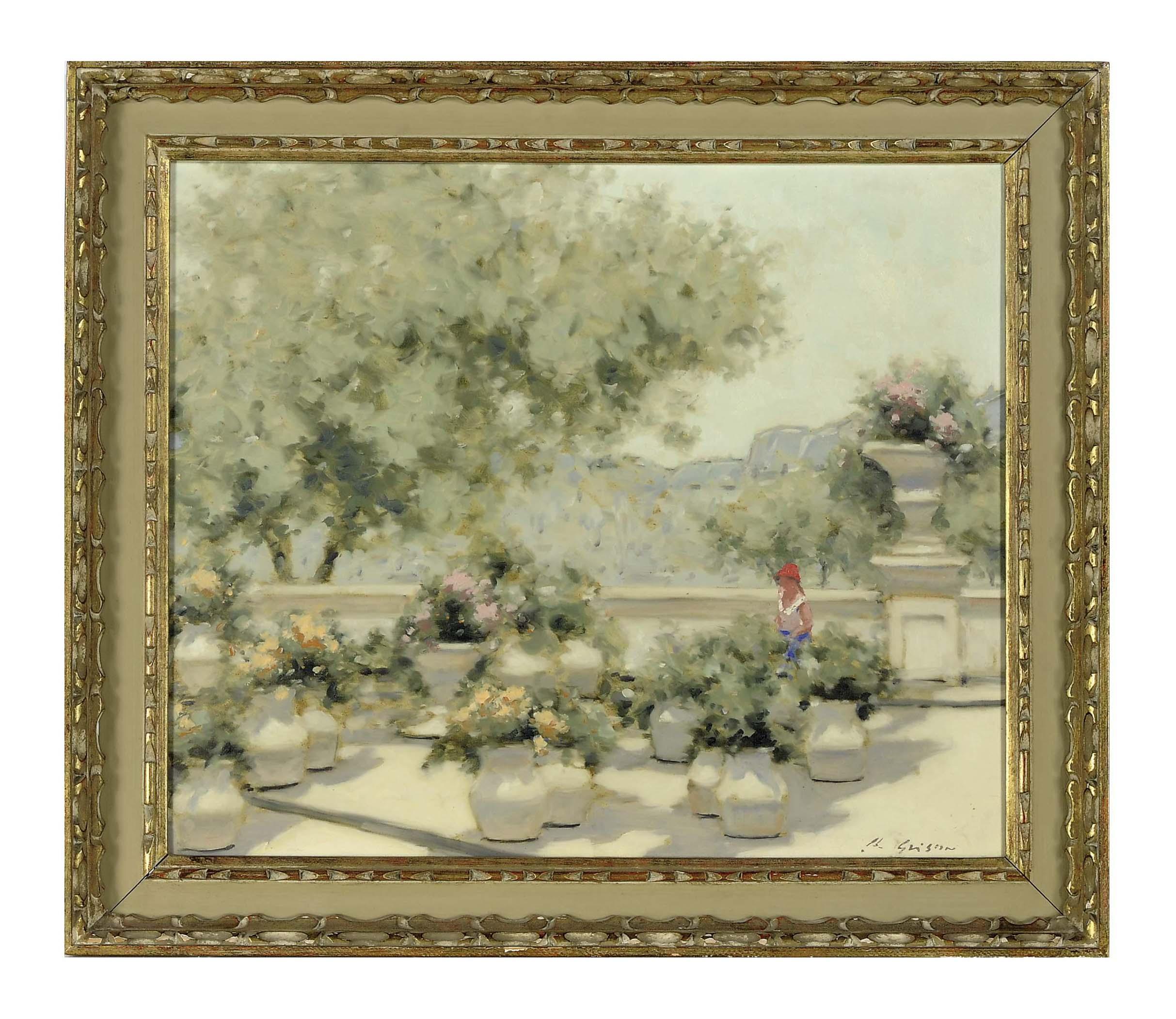 A girl on a lush terrace
