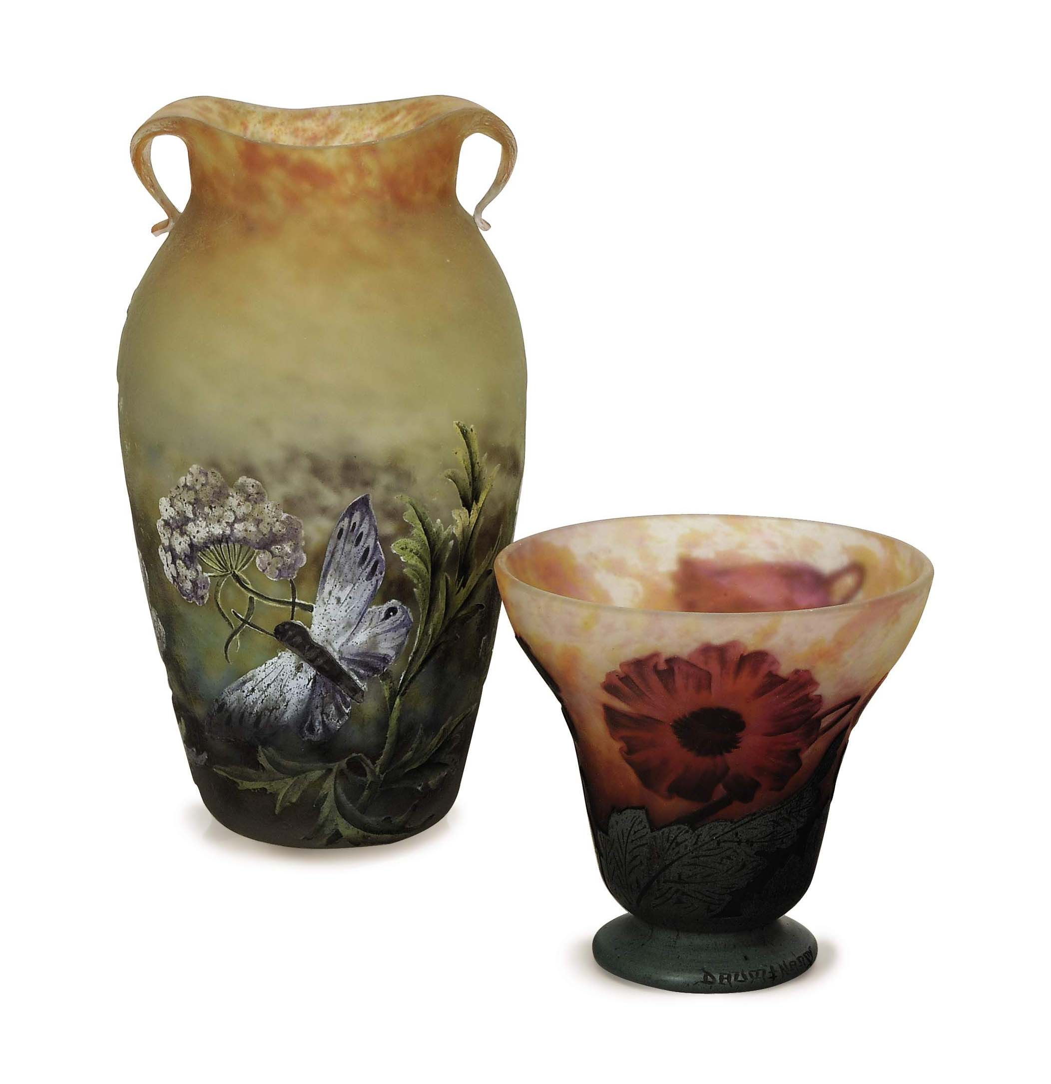 TWO FRENCH ETCHED AND ENAMELED CAMEO GLASS VASES,