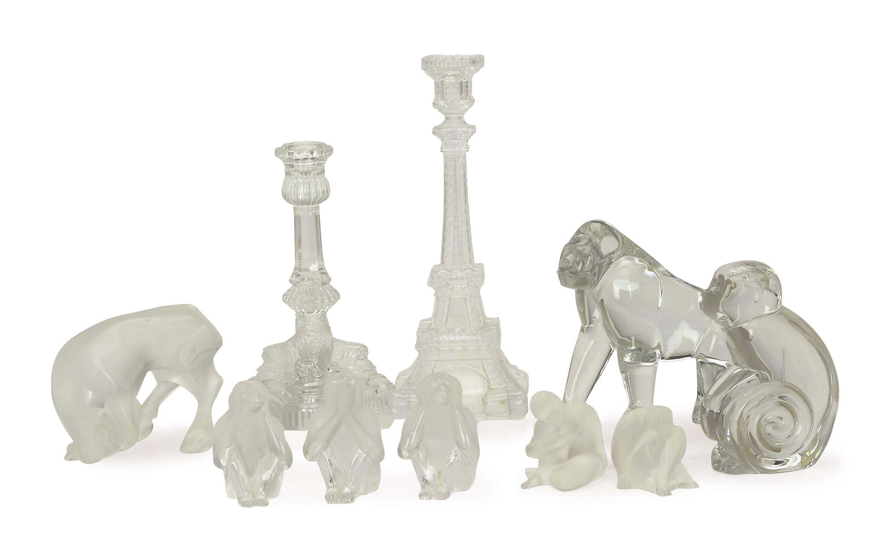 A GROUP OF TEN FRENCH GLASS FIGURES,