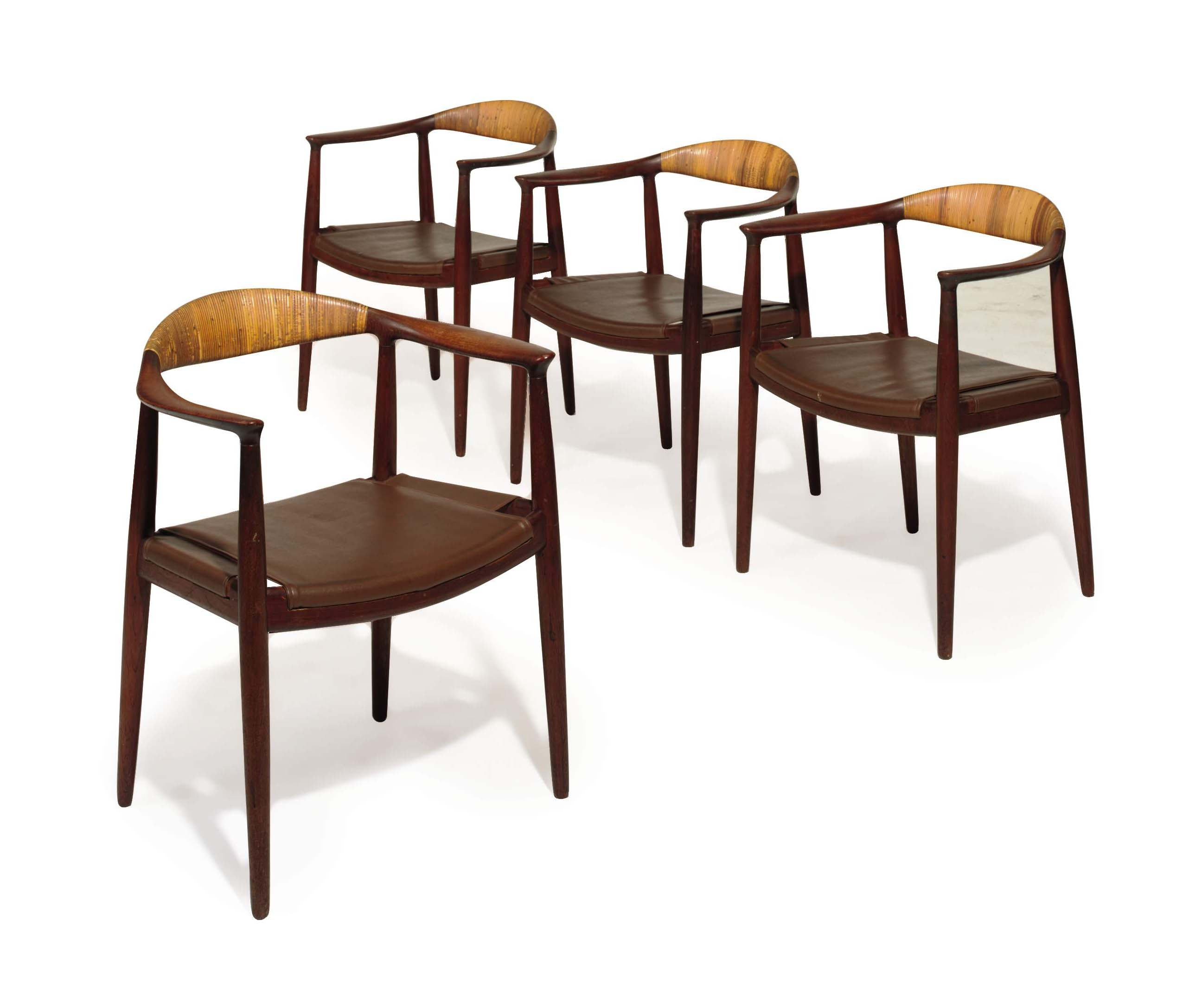 A SET OF TWELVE DANISH OAK, RUSH AND LEATHER 'CLASSIC' DINING CHAIRS,