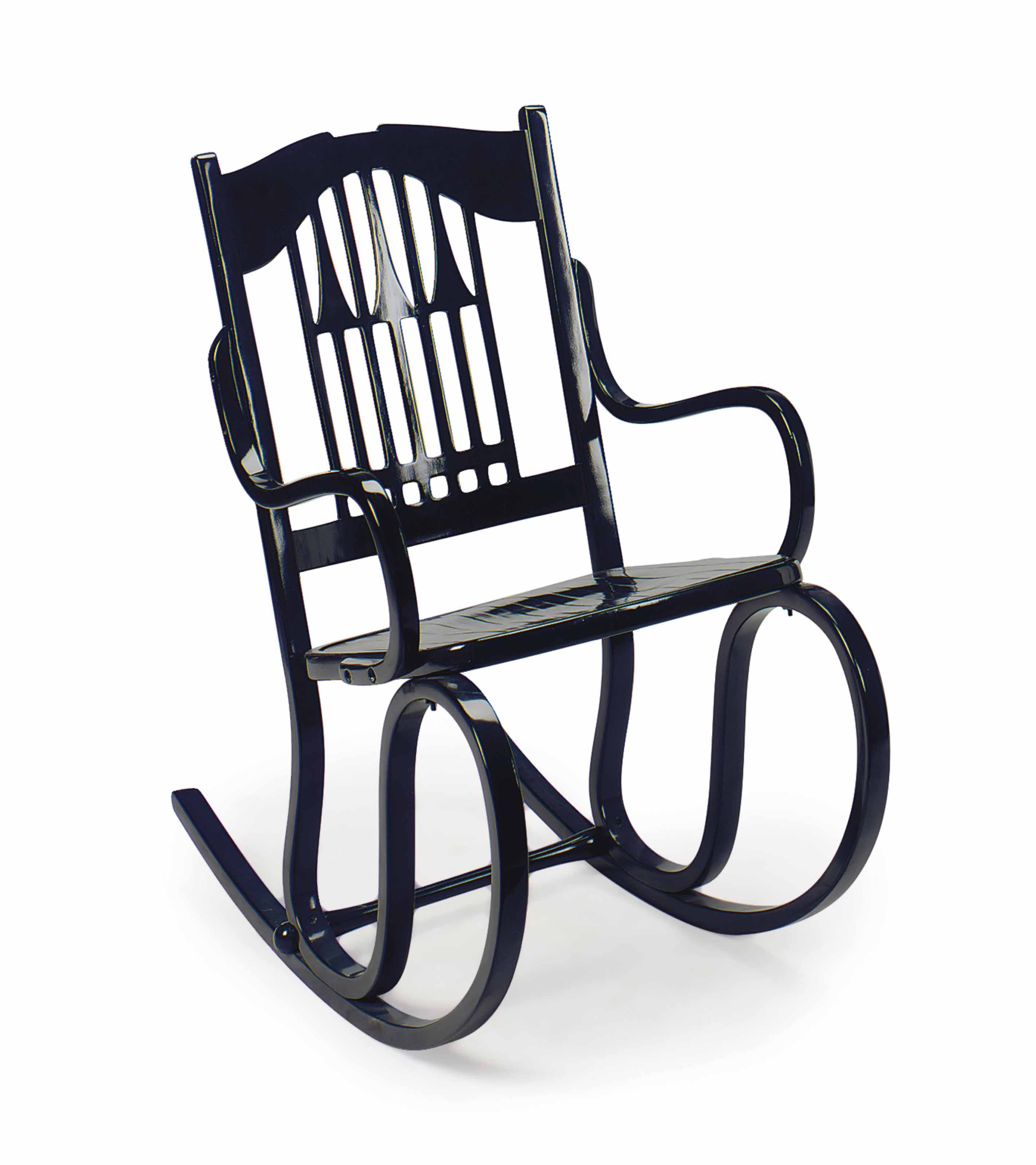 A VIENNA SECESSIONIST EBONISED BENTWOOD ROCKING CHAIR,
