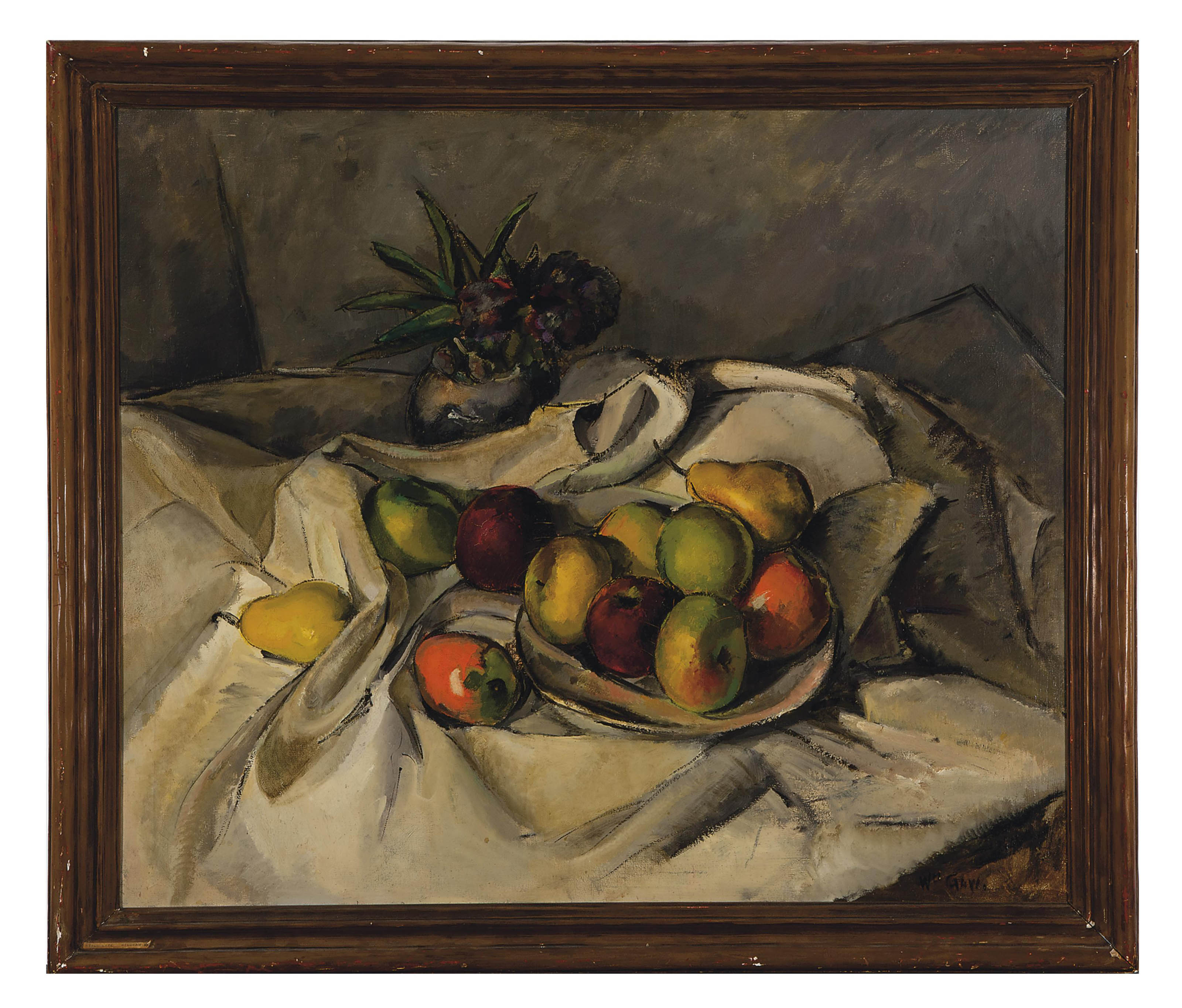 Still life of fruit on a white cloth