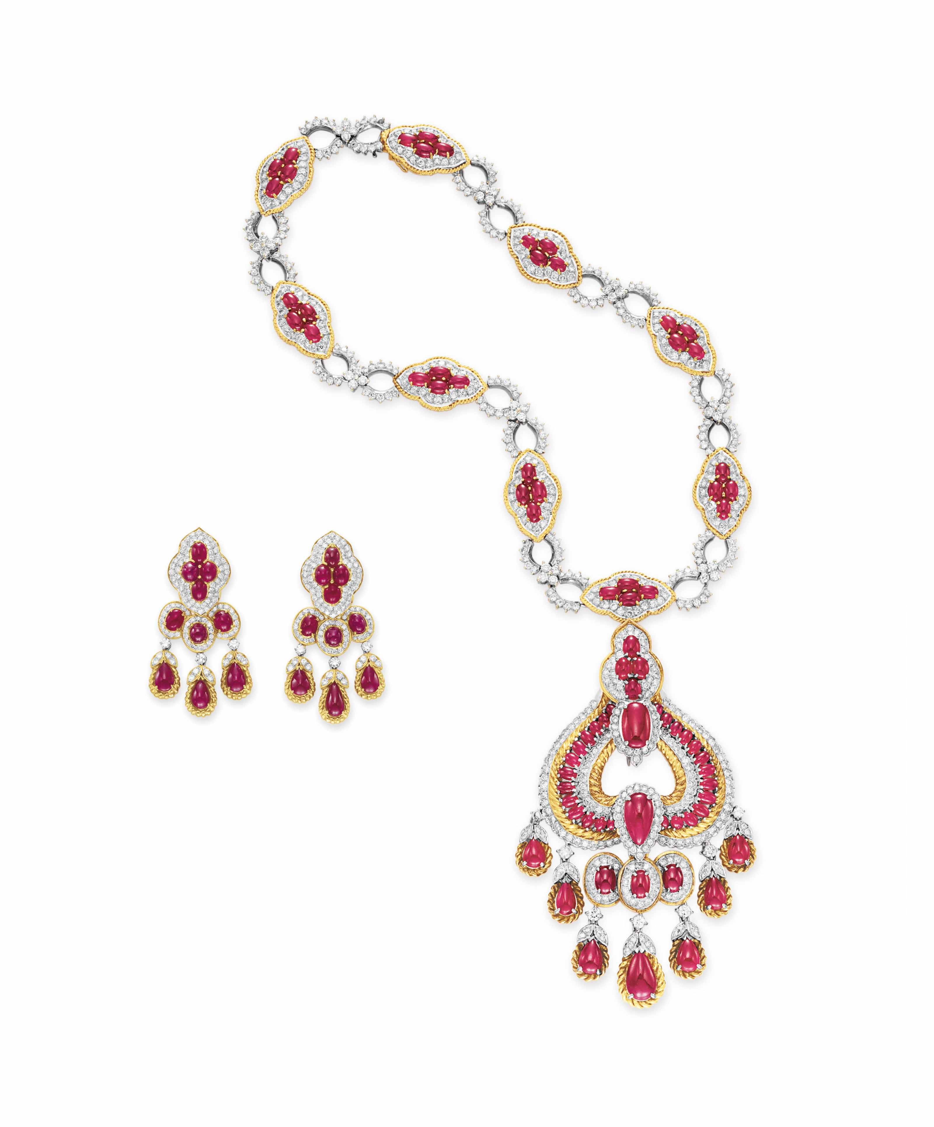 A SET OF RUBY, DIAMOND AND GOLD JEWELRY, BY GUCCI