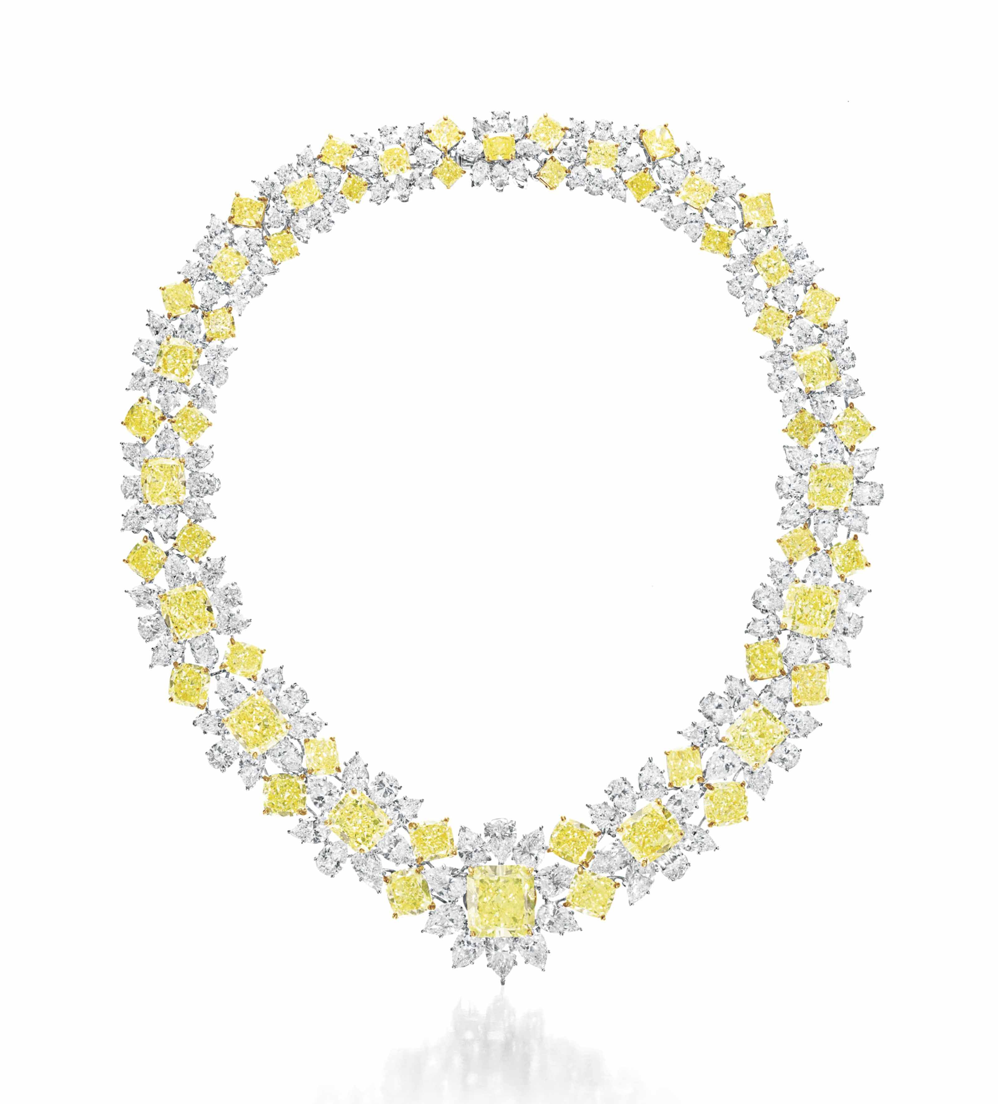A COLORED DIAMOND AND DIAMOND NECKLACE, BY GRAFF