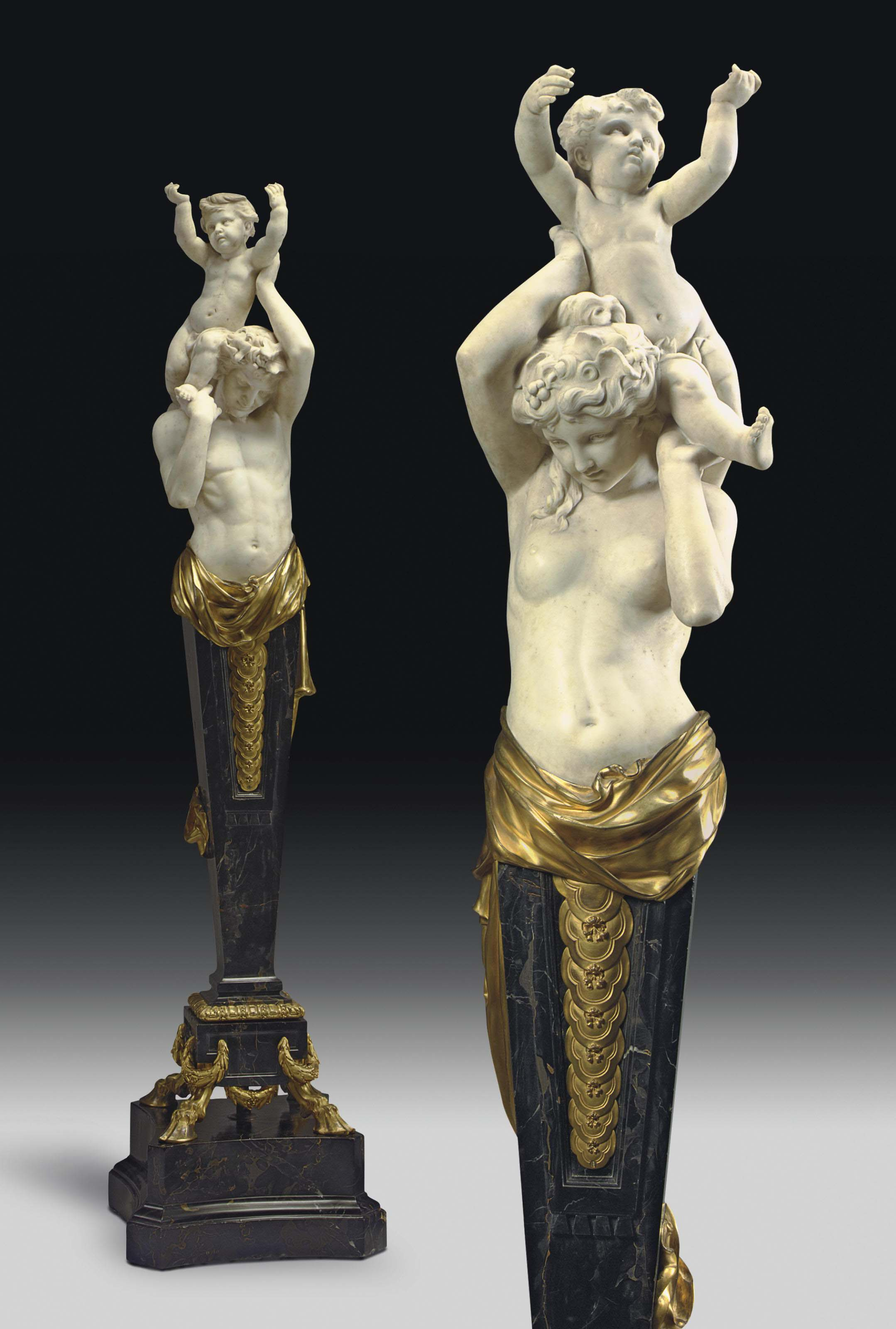 A MONUMENTAL PAIR OF AMERICAN ORMOLU-MOUNTED WHITE AND PORTOR MARBLE HERM FIGURES