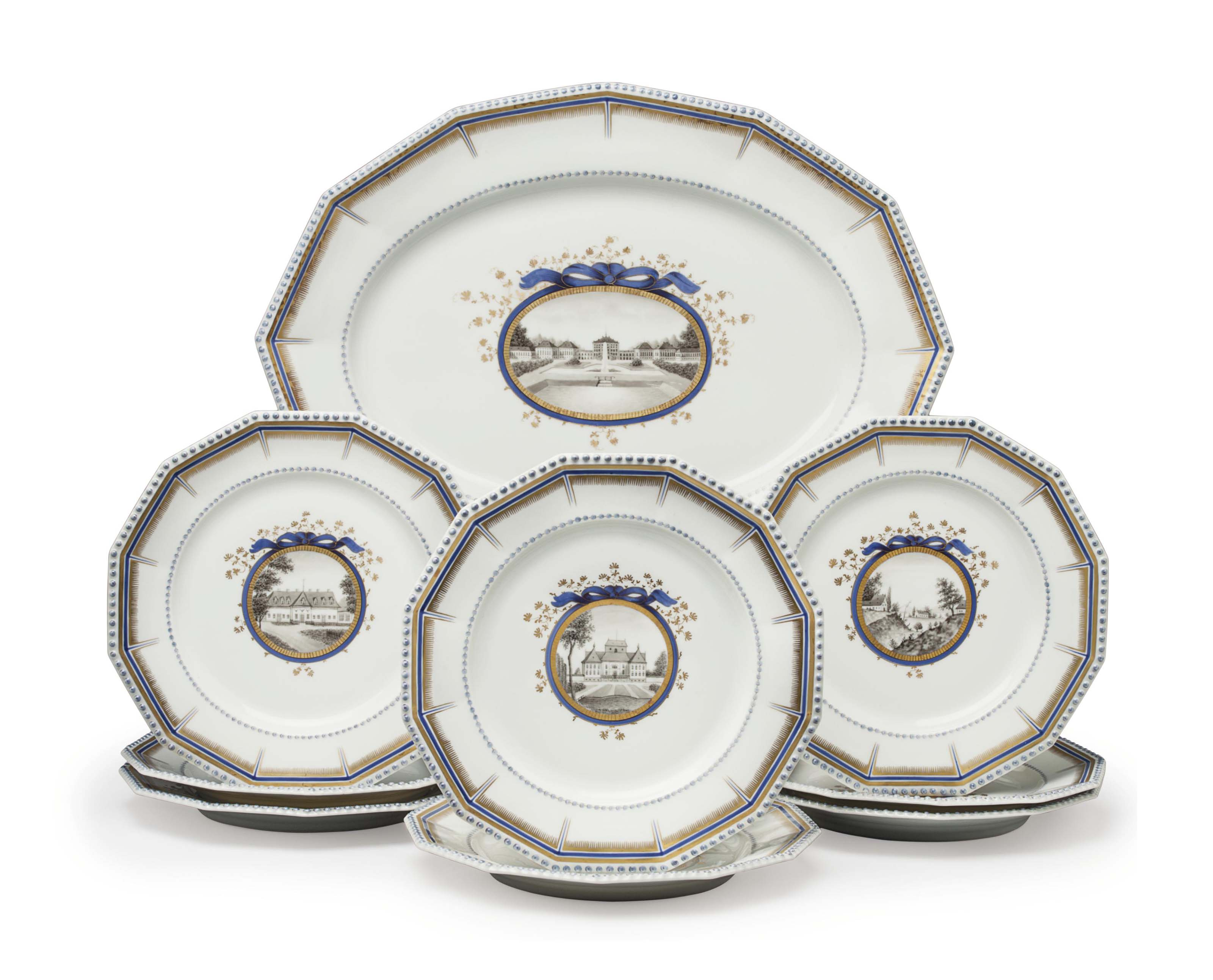 EIGHT NYMPHENBURG PORCELAIN 'PERLSERVICE' DINNER PLATES AND A LARGE PLATTER
