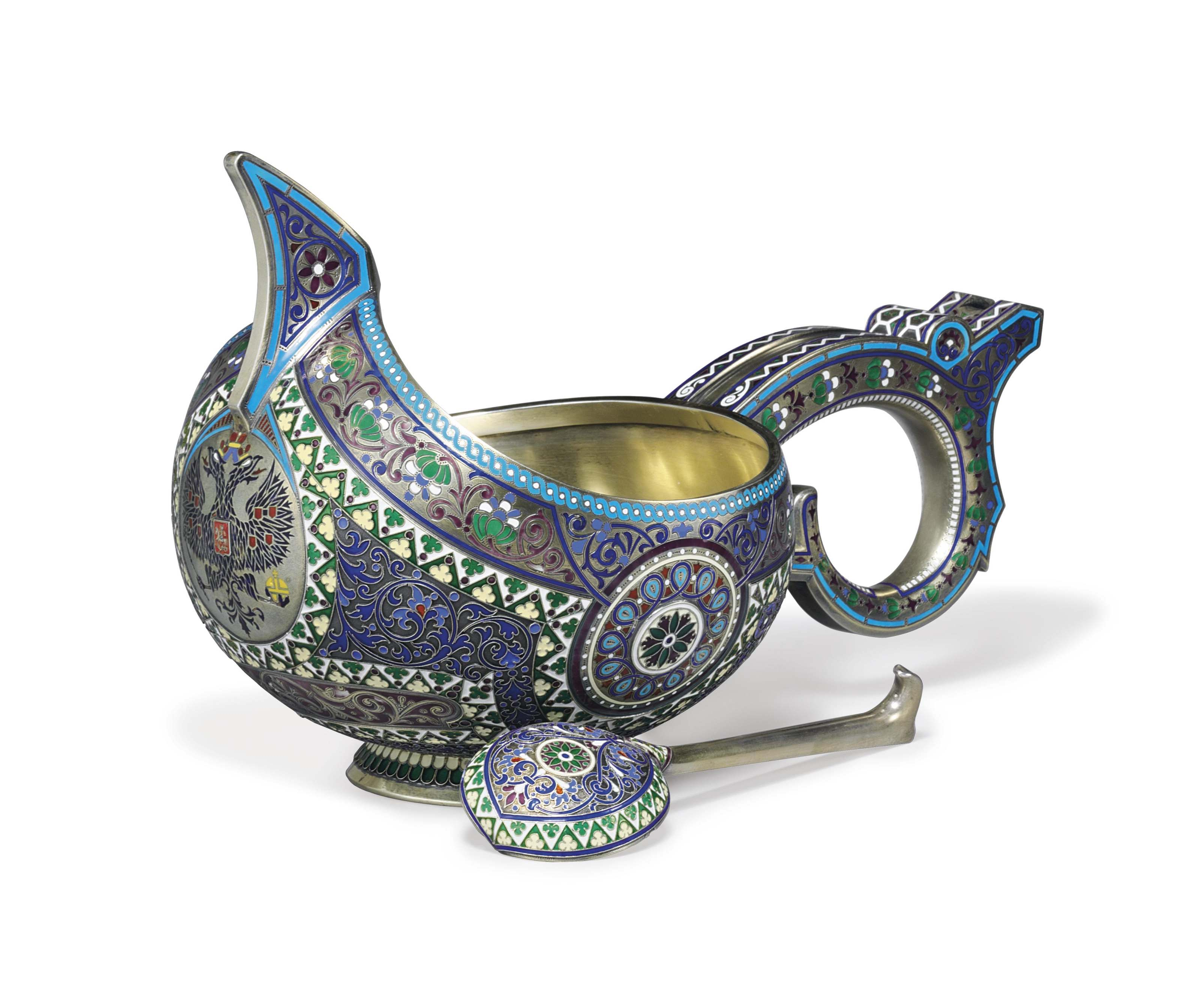 A SILVER-GILT CLOISONNÉ AND CHAMPLEVÉ ENAMEL LARGE KOVSH AND SPOON