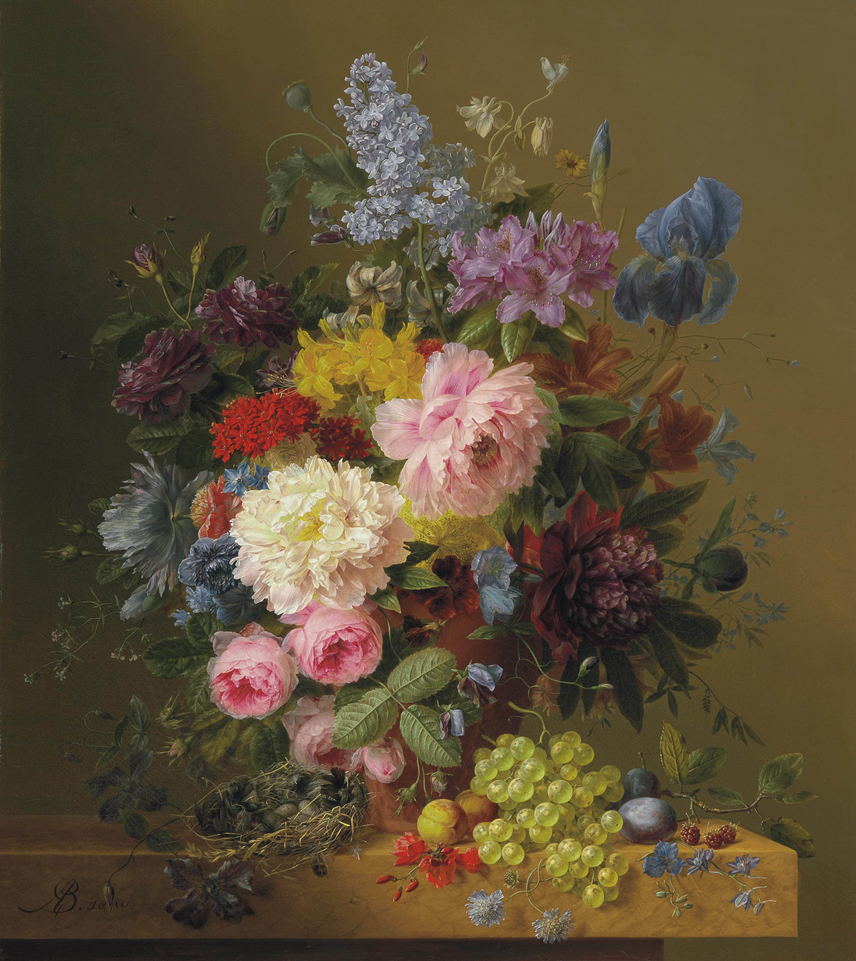 Lilacs, Peonies, Tulips, Roses, Irises and other Flowers with Fruit and a Bird's Nest on a Marble Ledge