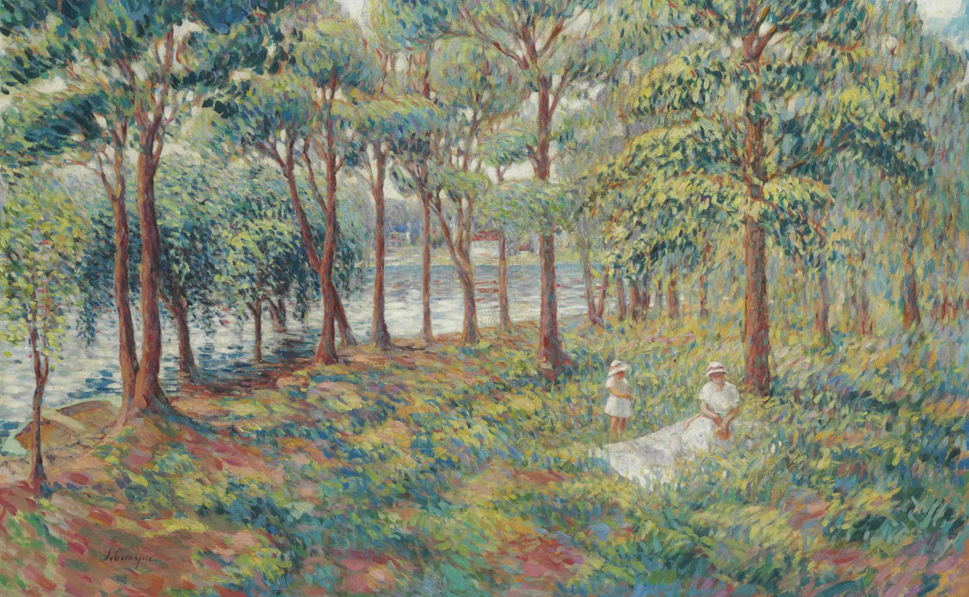 Madame Lebasque et sa fille au bord de la Marne