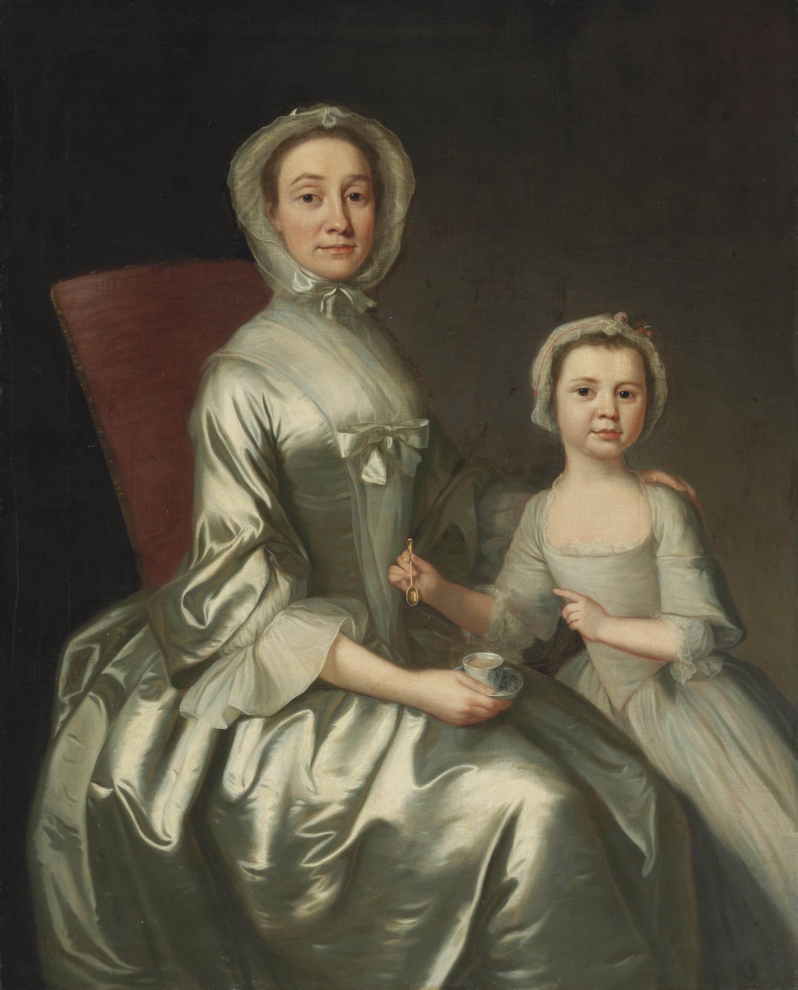 Portrait of a woman and child, three-quarter length
