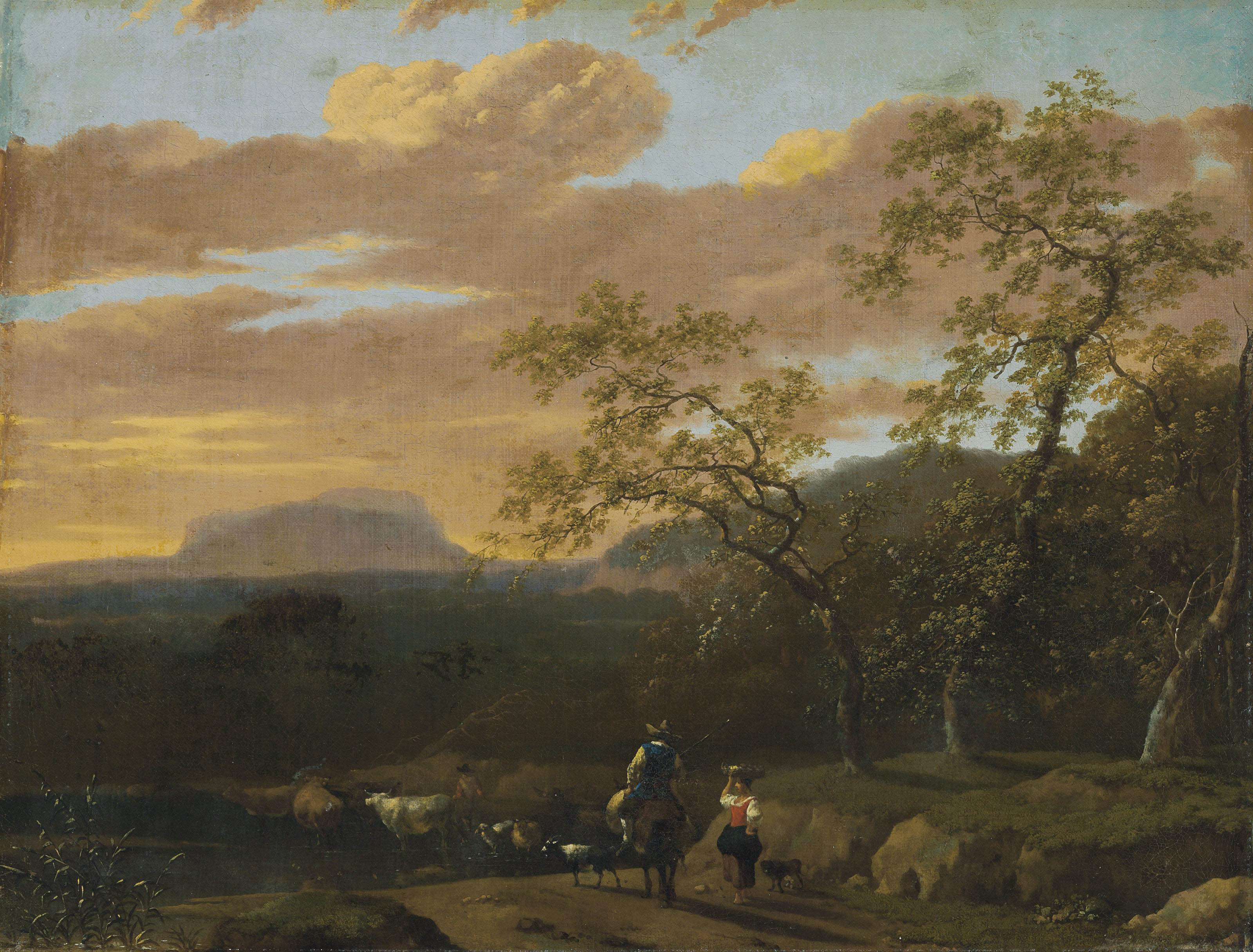 A mountainous river landscape with peasants, cows, goats and sheep