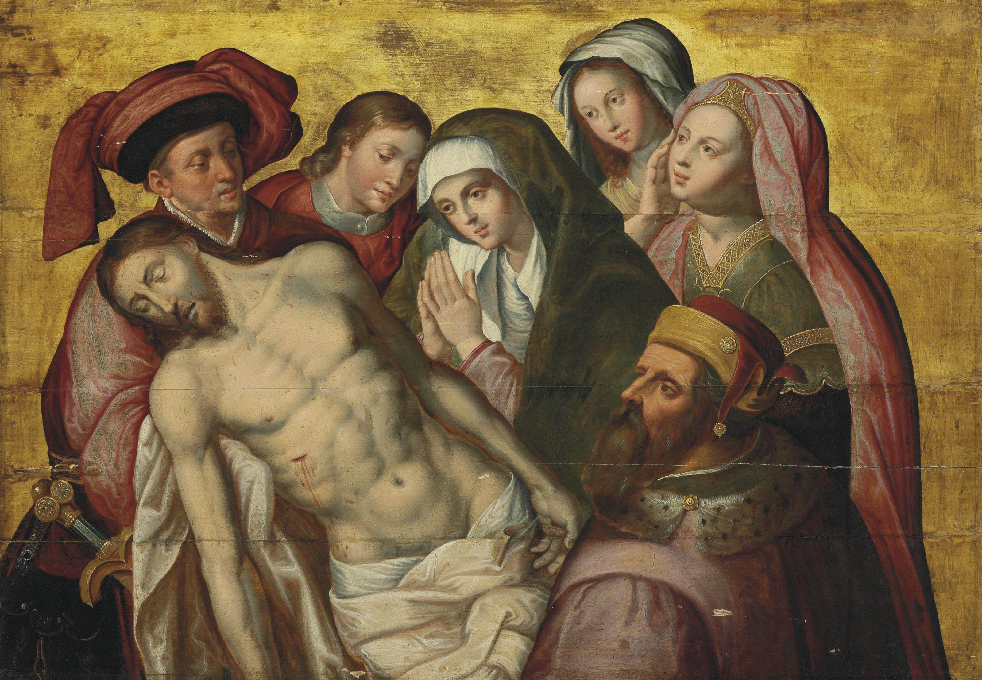 The Lamentation with Mary Magdalene, Saint John the Evangelist and donors