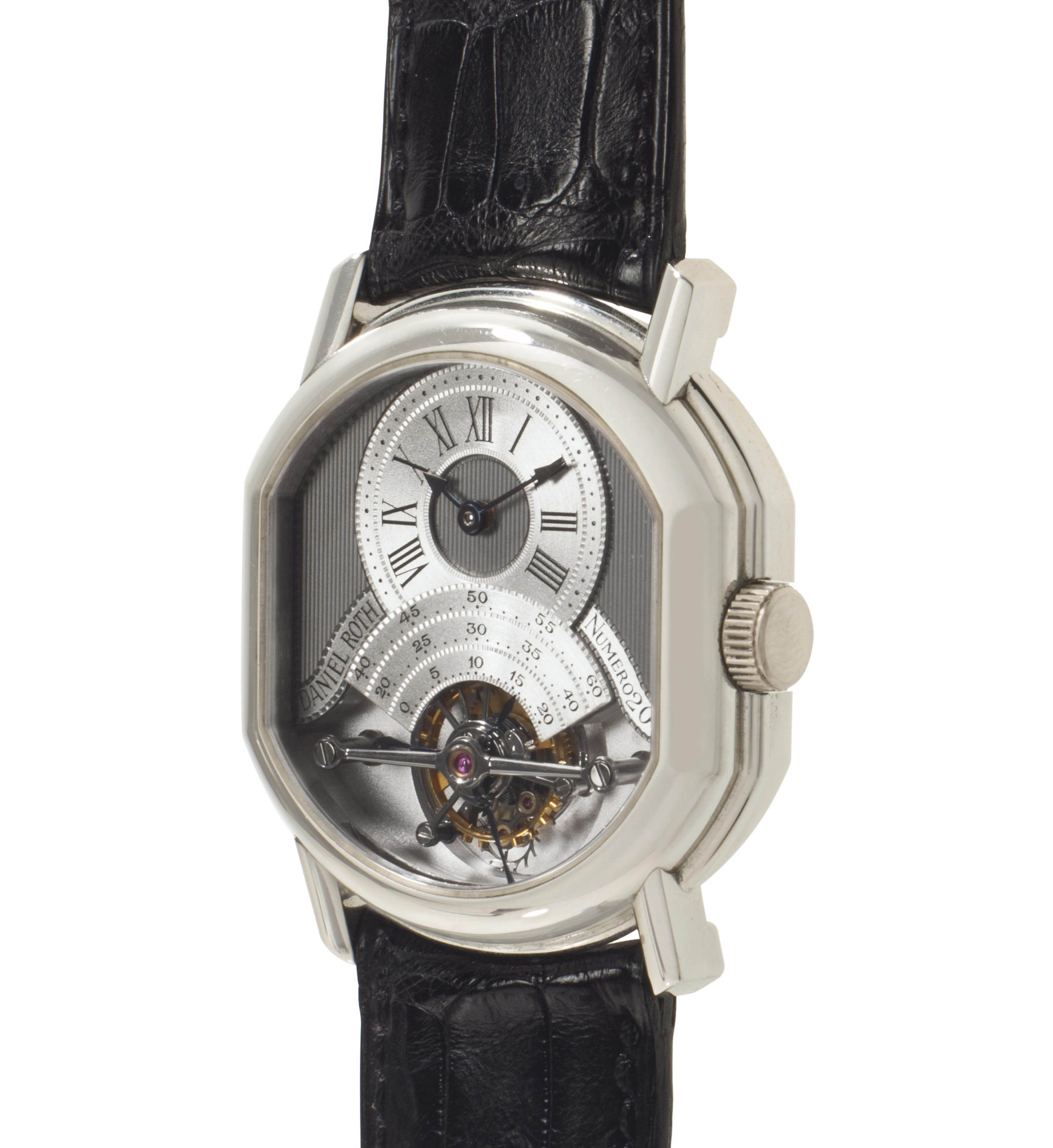 Daniel Roth. A Fine and Rare Platinum Oval-shaped Double Dialed Tourbillon Wristwatch with Date and Power Reserve