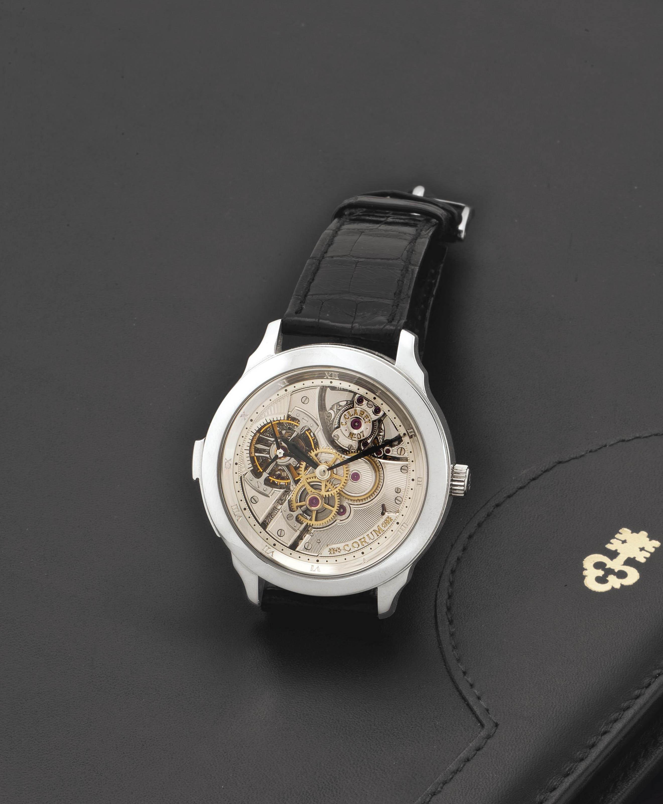 Corum.  A Very Rare and Important Platinum Skeletonized Minute Repeating Tourbillon Wristwatch
