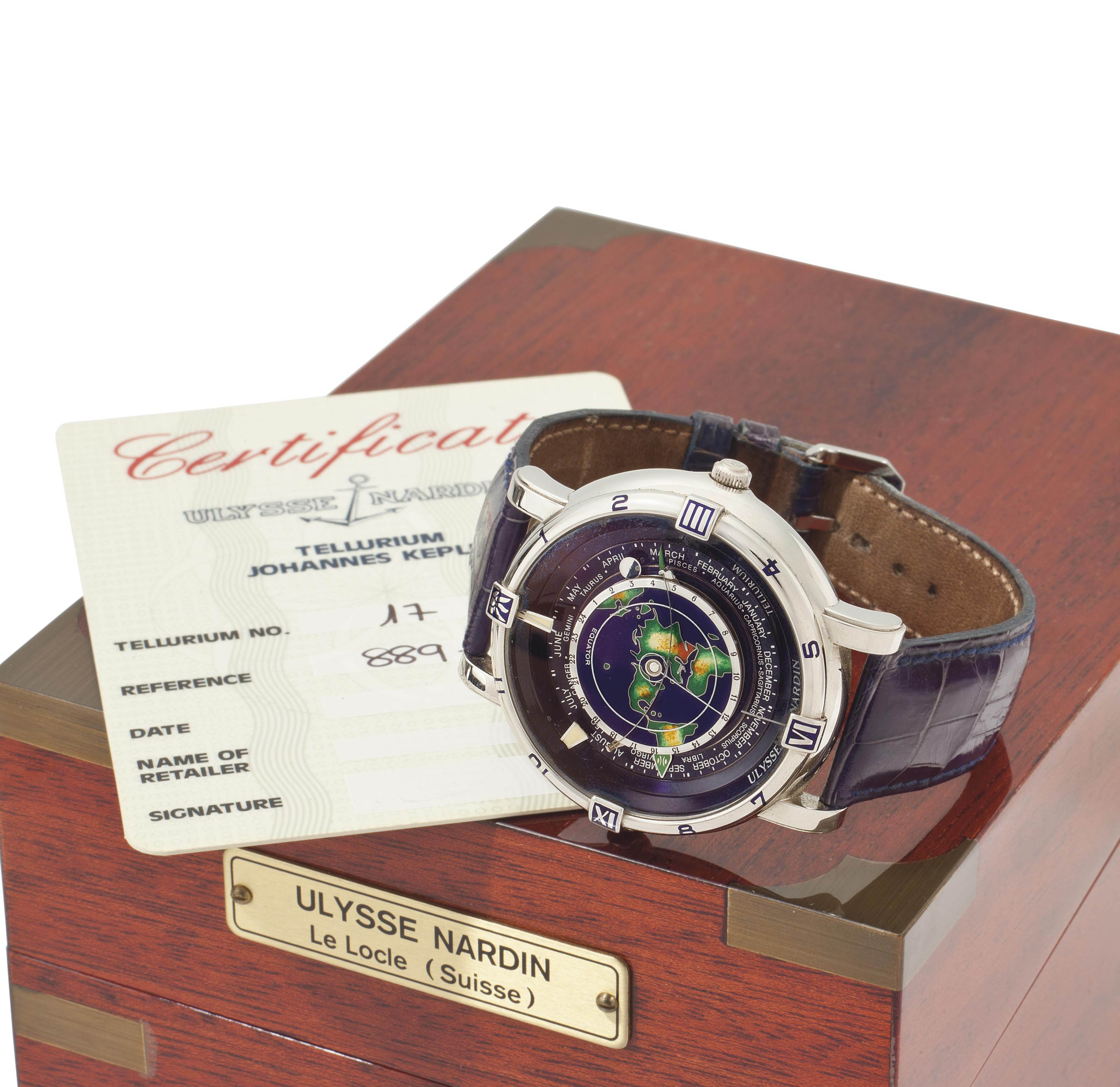 Ulysse Nardin.  A Fine and Rare Limited Edition Platinum Automatic Dual Time Astronomical Wristwatch