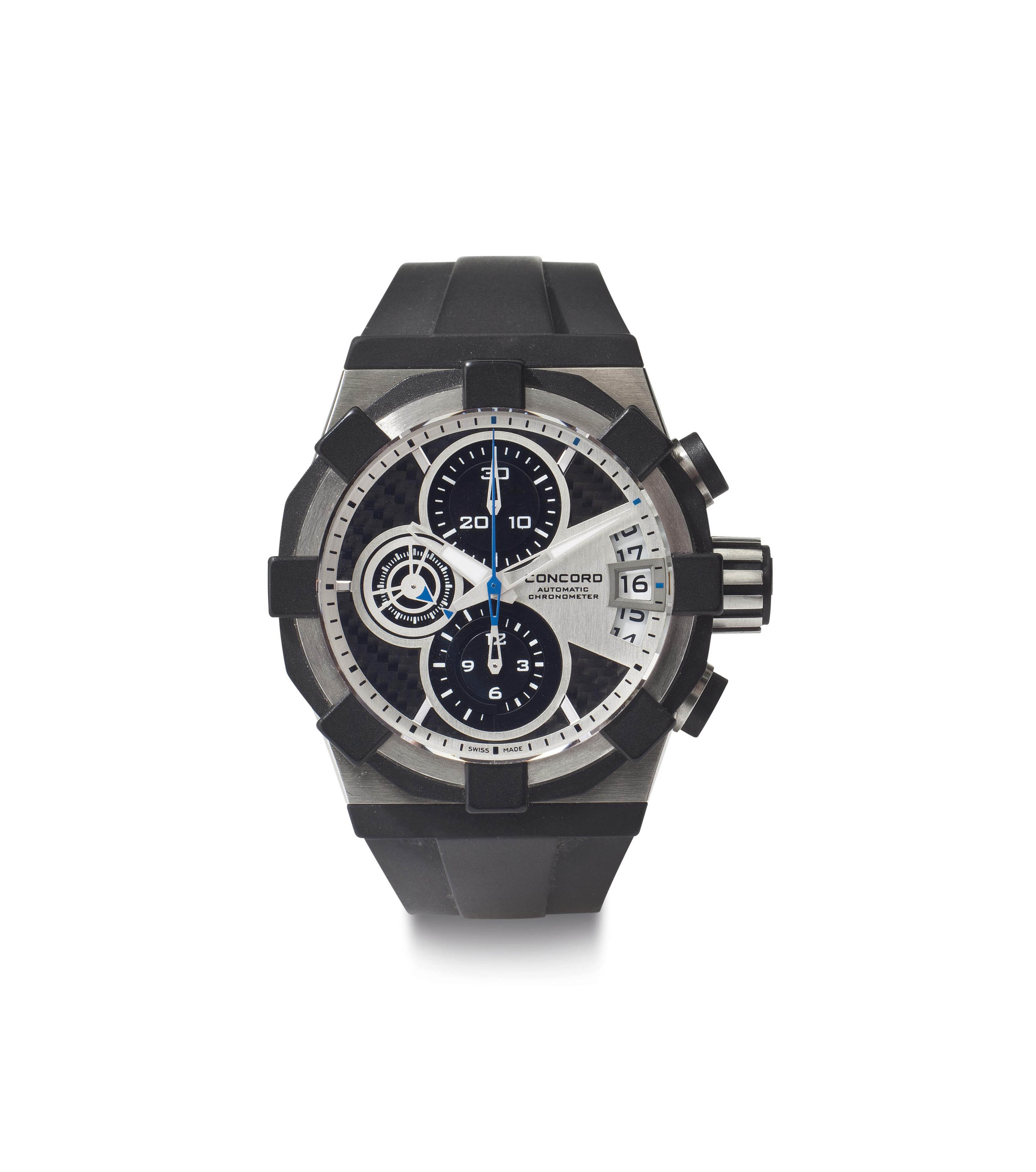Concord. A Large Stainless Steel Chronometer Wristwatch with Chronograph and Date