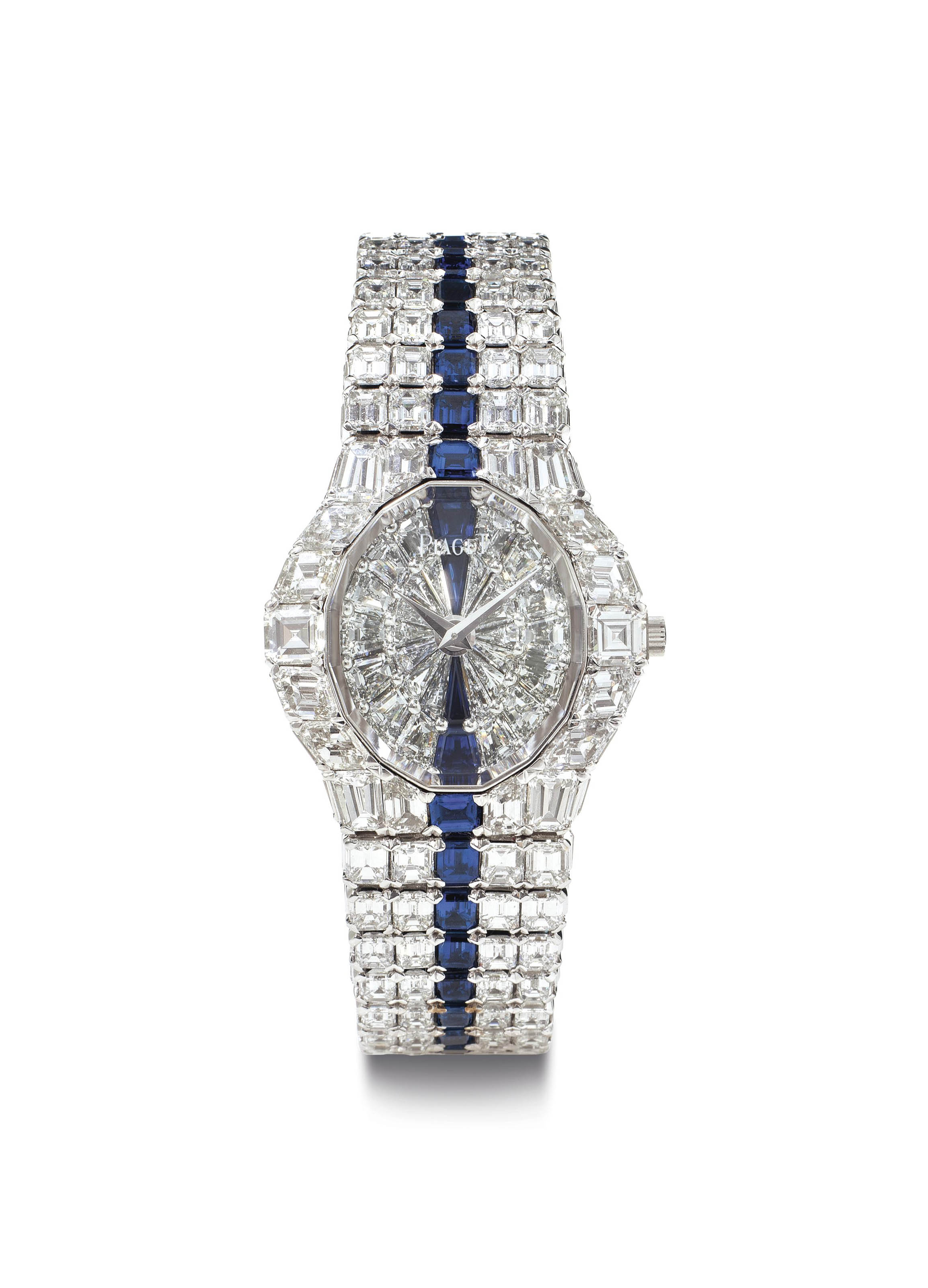 Piaget.  A Large, Superlative and Extremely Rare 18k White Gold, Diamond and Sapphire-set Bracelet Watch