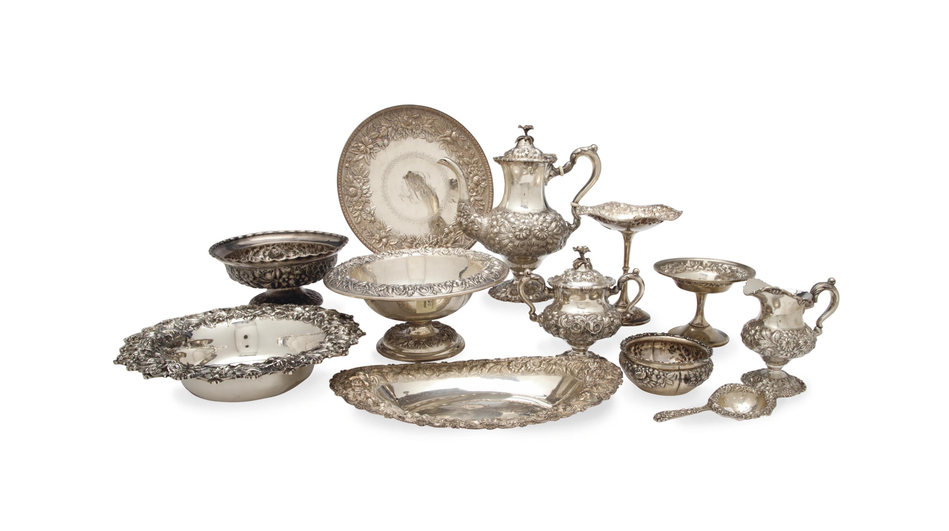 AN ASSEMBLED AMERICAN SILVER REPOUSSE TEA AND DESSERT SERVICE,