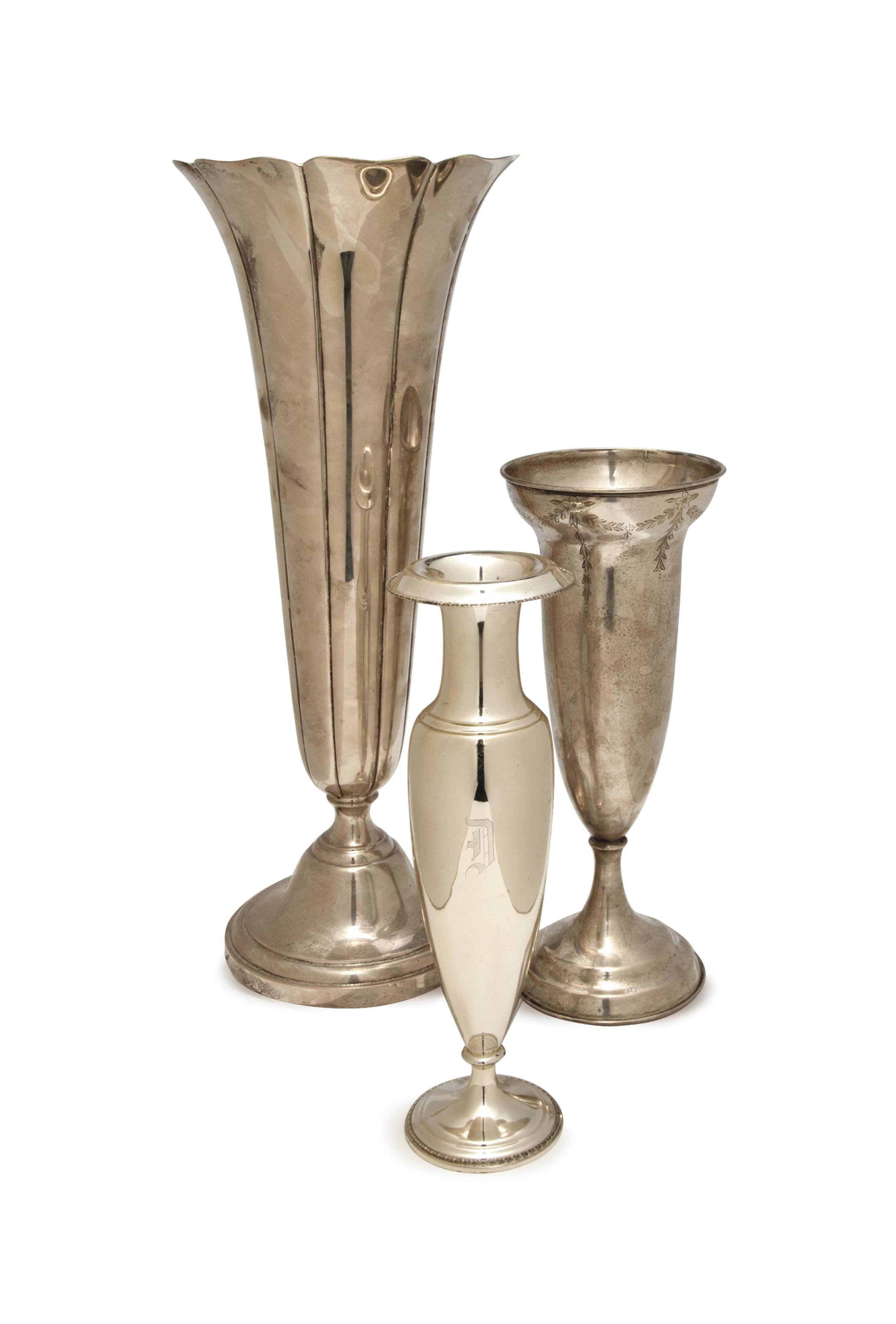THREE AMERICAN SILVER VASES,