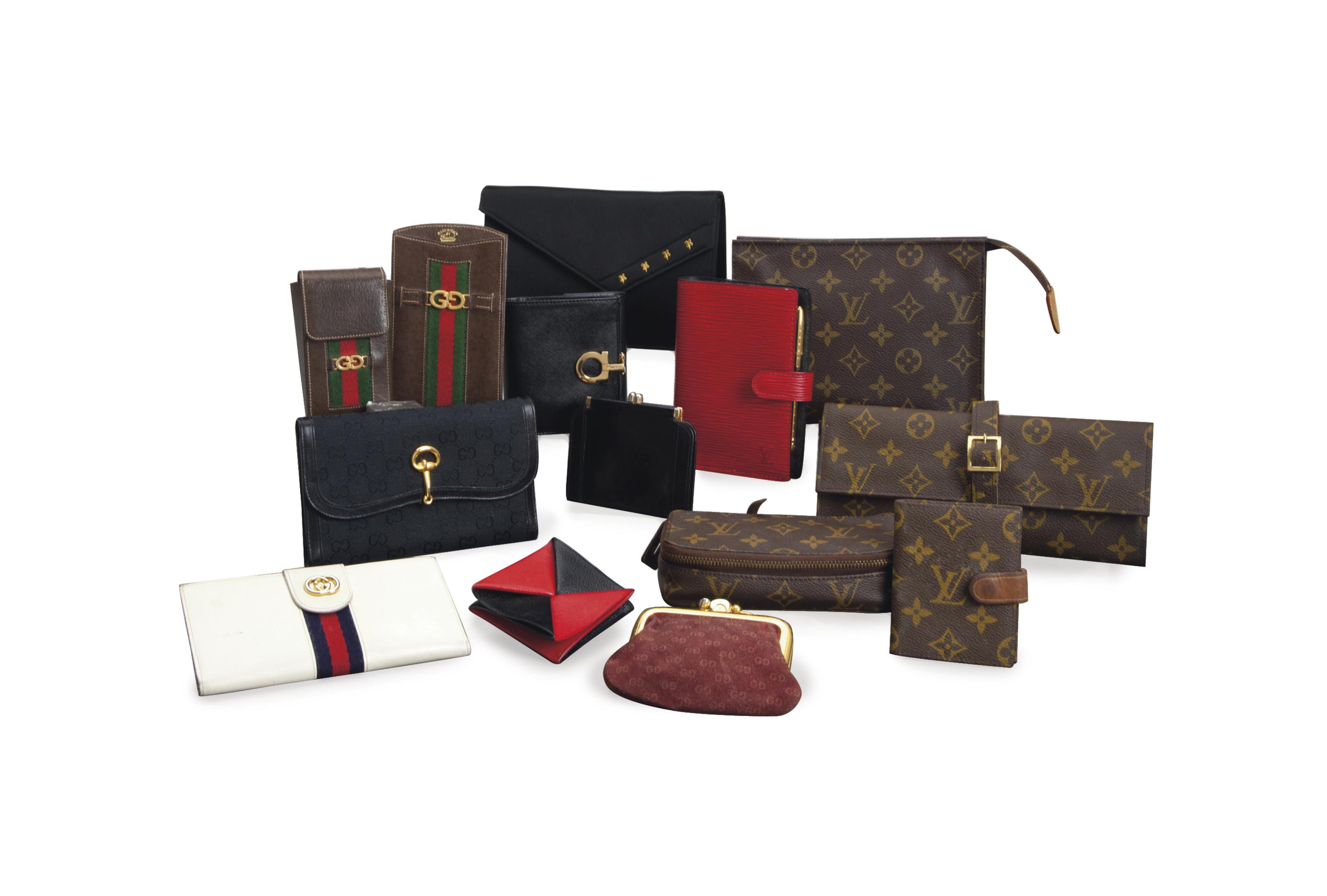 A COLLECTION OF FOURTEEN LEATHER, CANVAS AND FABRIC SMALL GOODS,