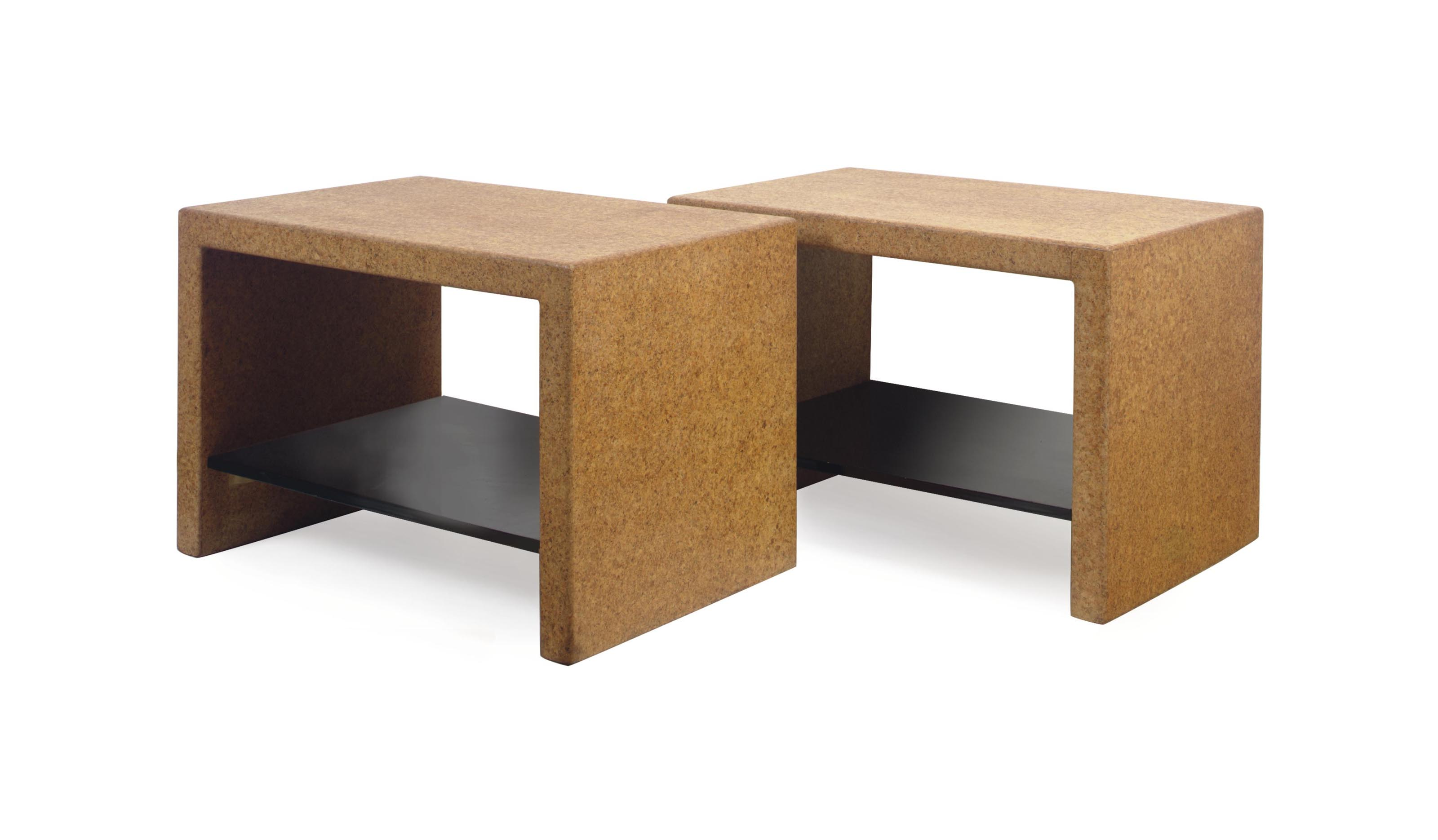 A PAIR OF LAMINATED CORK AND EBONIZED TWO-TIER SIDE TABLES,