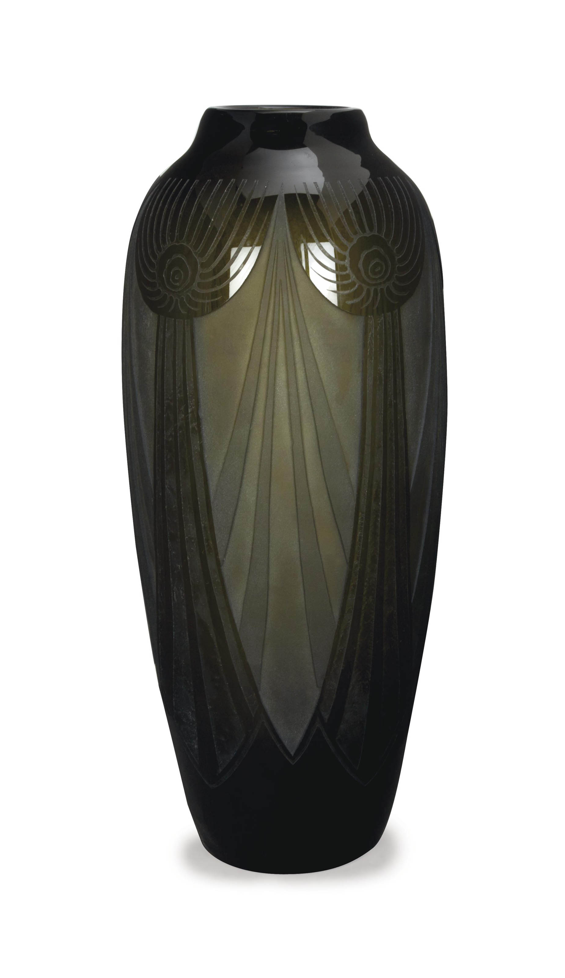 A LARGE FRENCH ACID ETCHED GLASS VASE,