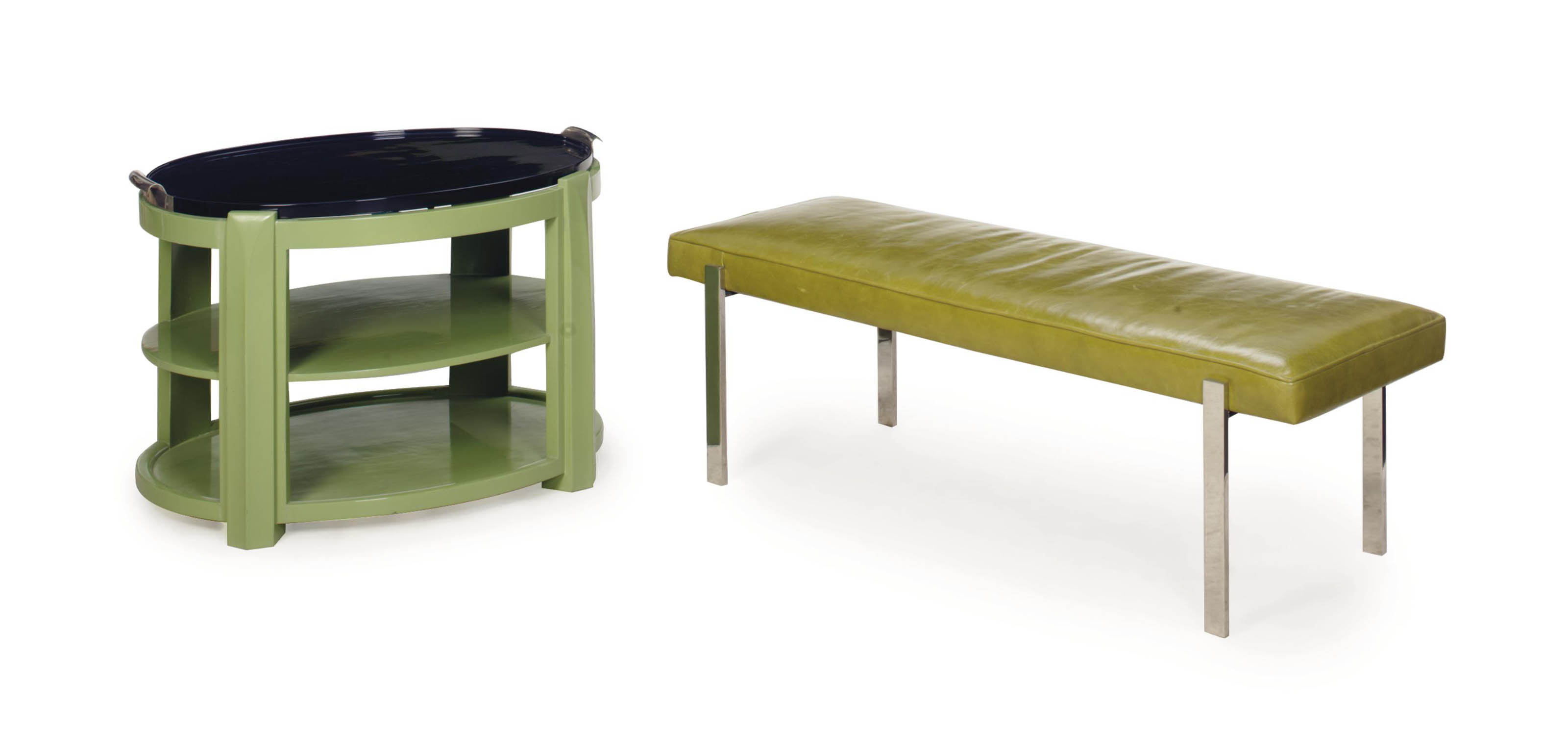 A MINT GREEN AND BLACK-PAINTED TRAY-TOP TWO-TIER SIDE TABLE,