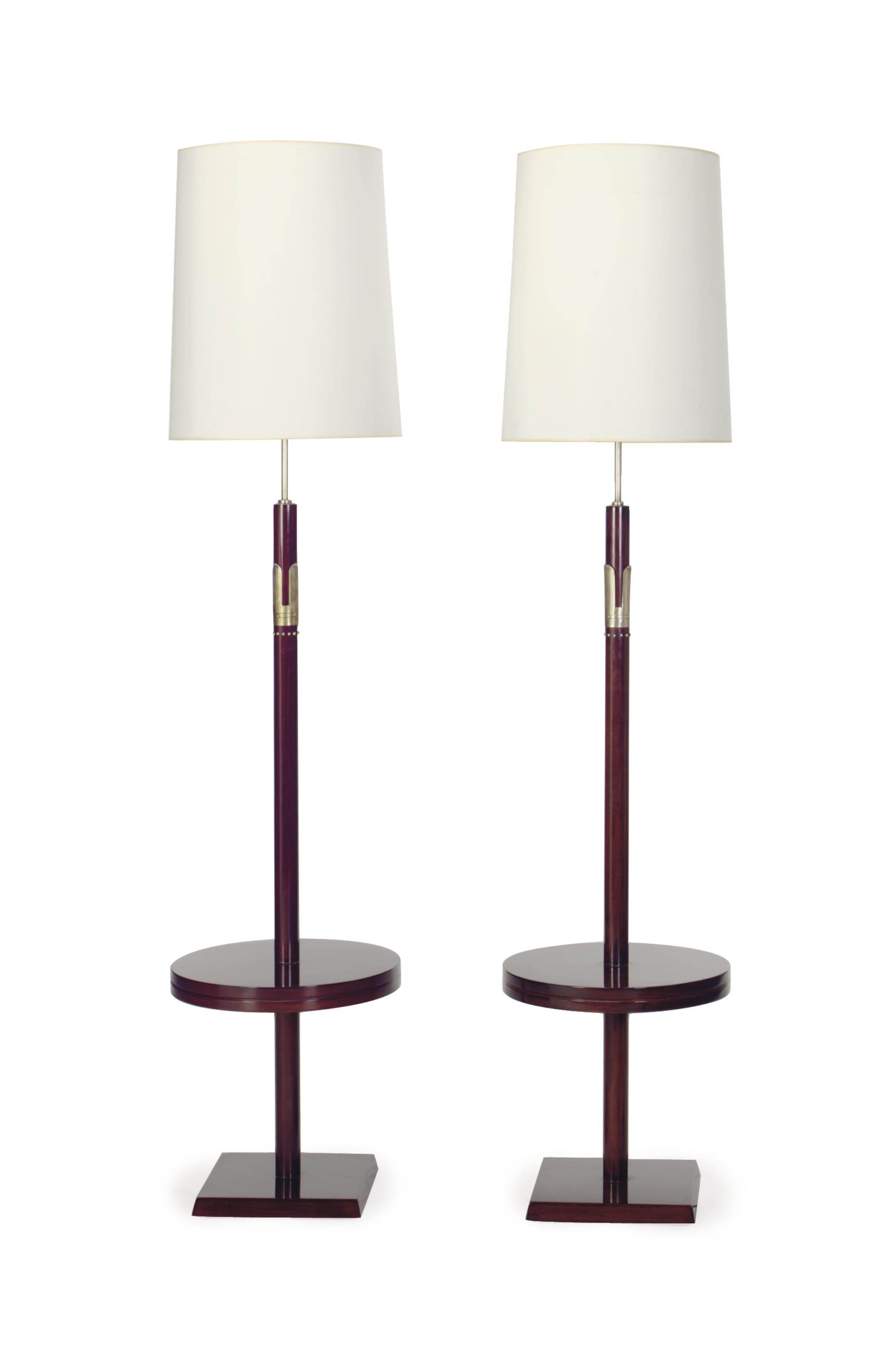 A PAIR OF METAL-MOUNTED MAHOGANY LAMP TABLES,