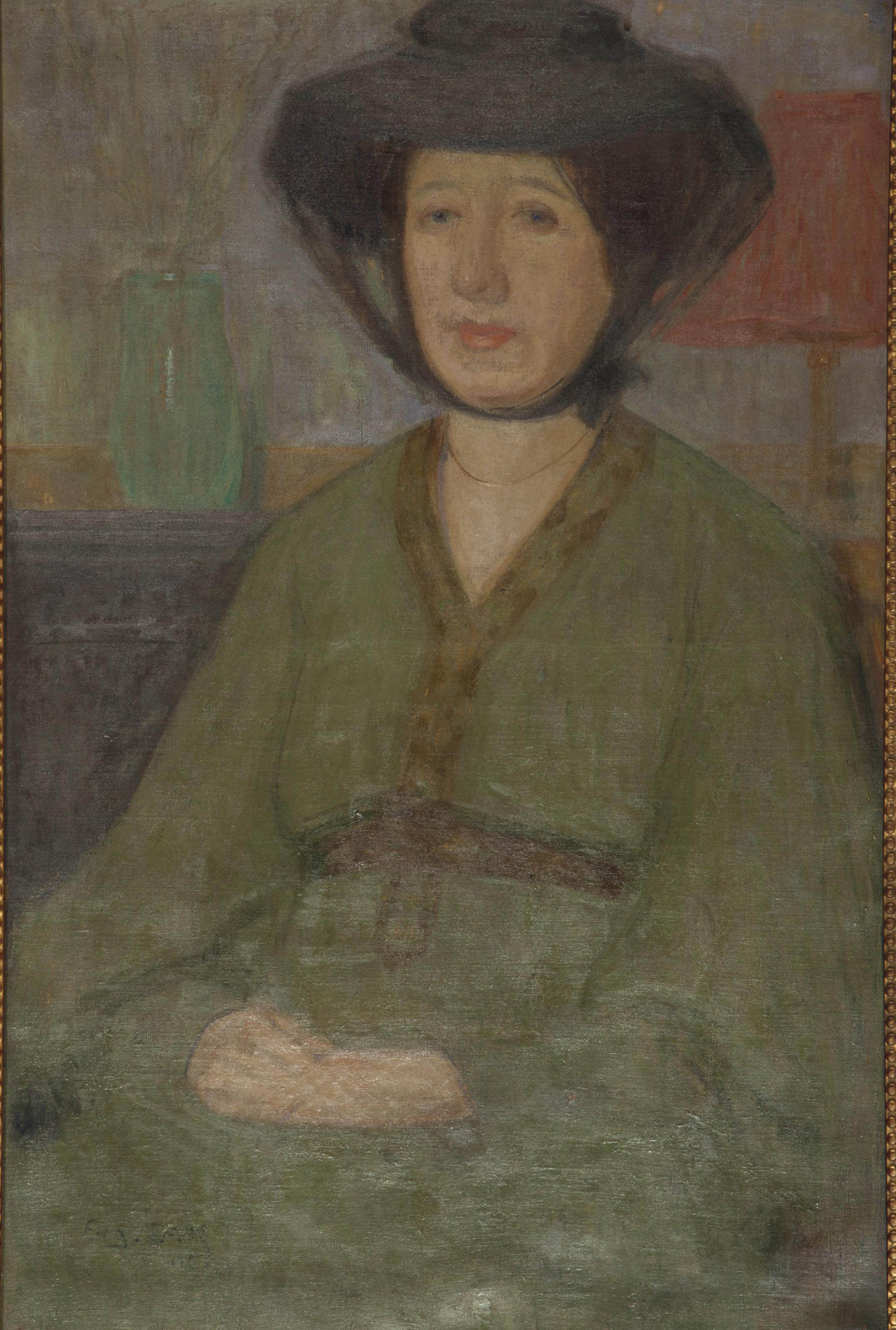 Untitled (Portrait of a seated woman in a green dress)