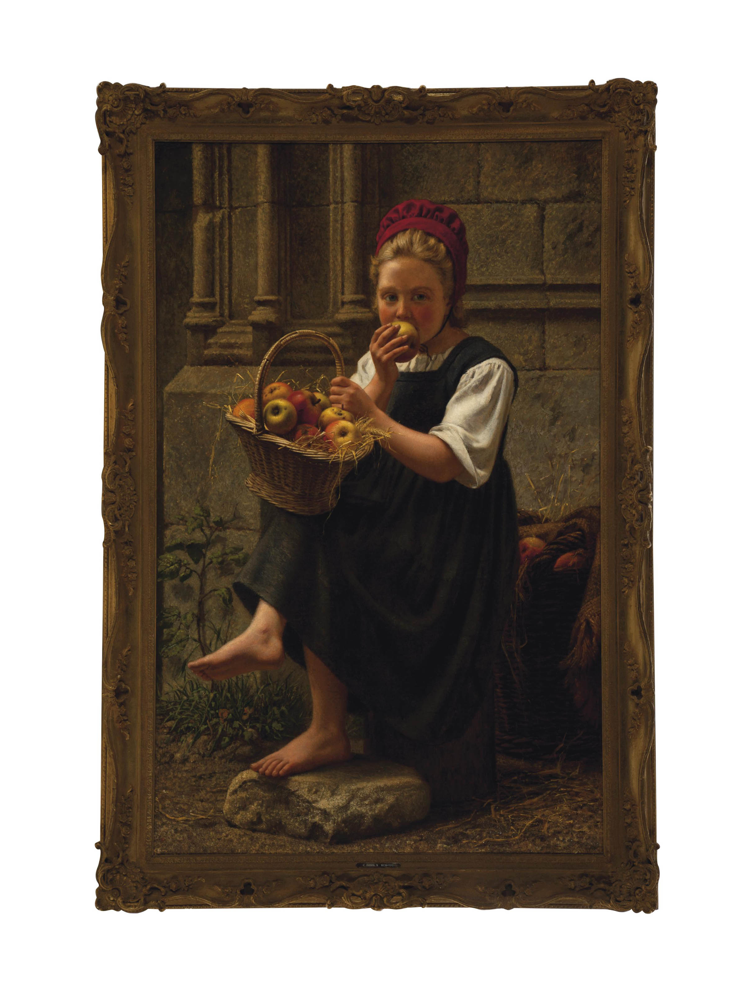 Peasant girl eating an apple