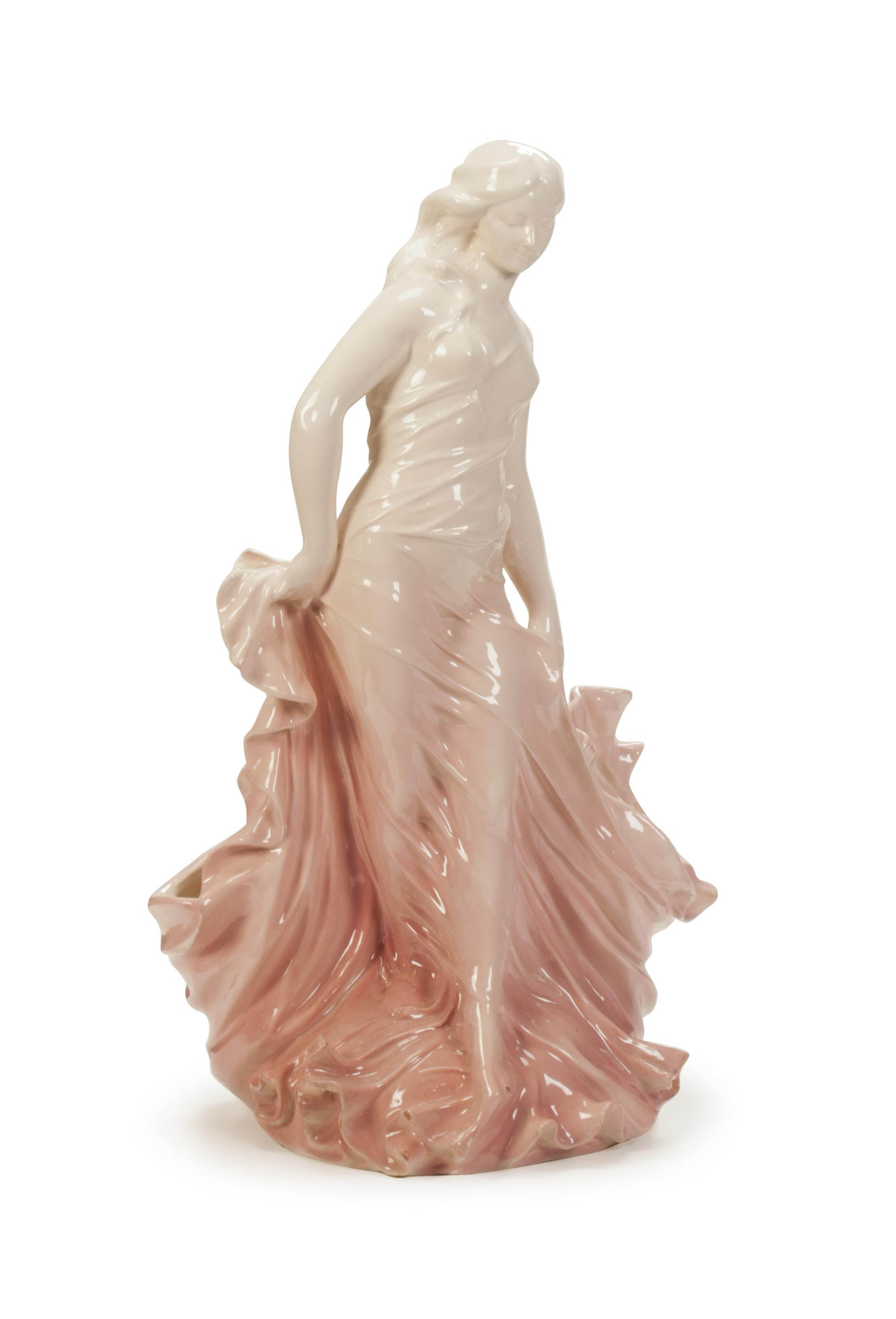 A FRENCH PINK GLAZED MAJOLICA DOUBLE FIGURAL VASE,