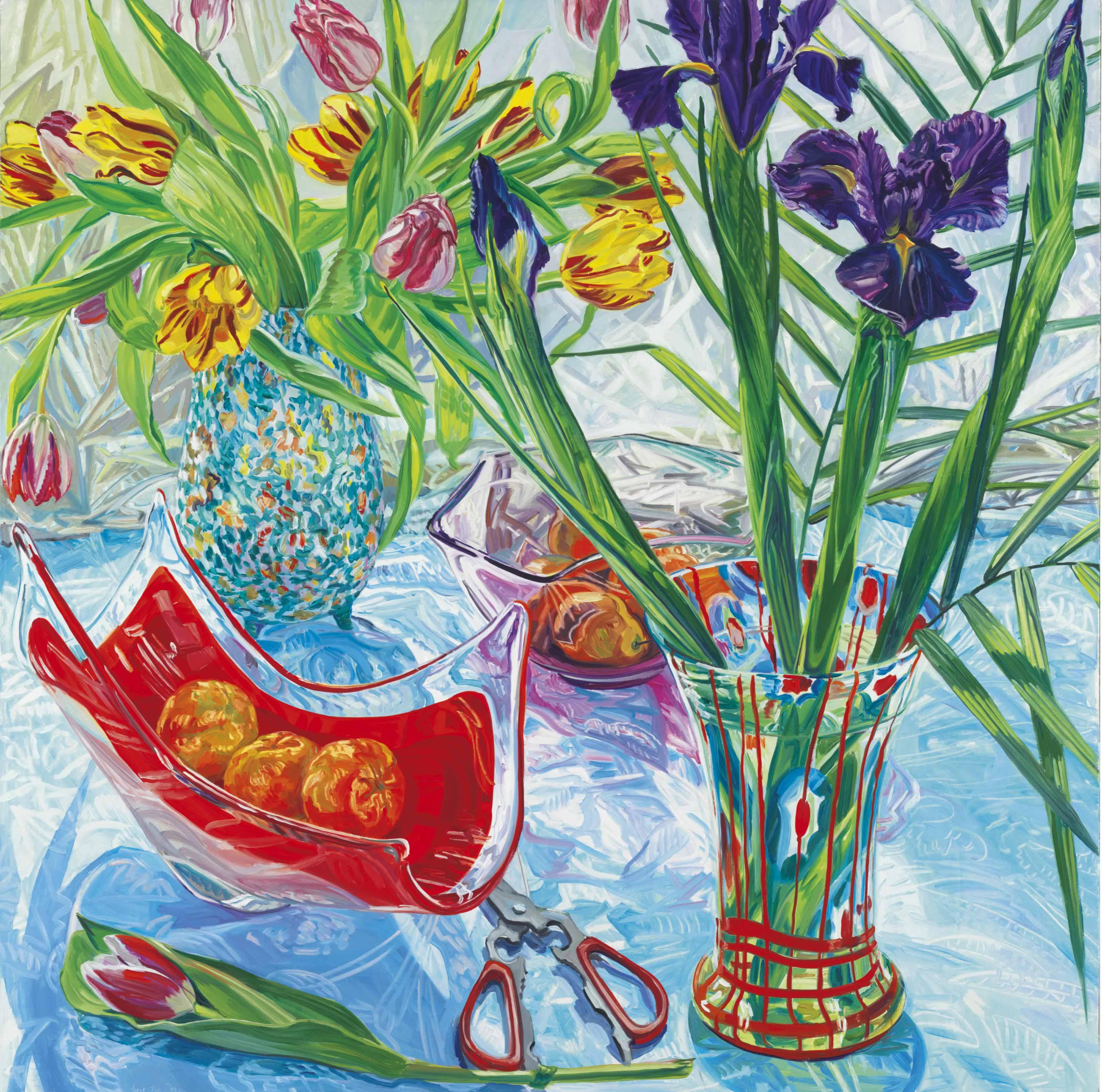 Irises and Red Vase