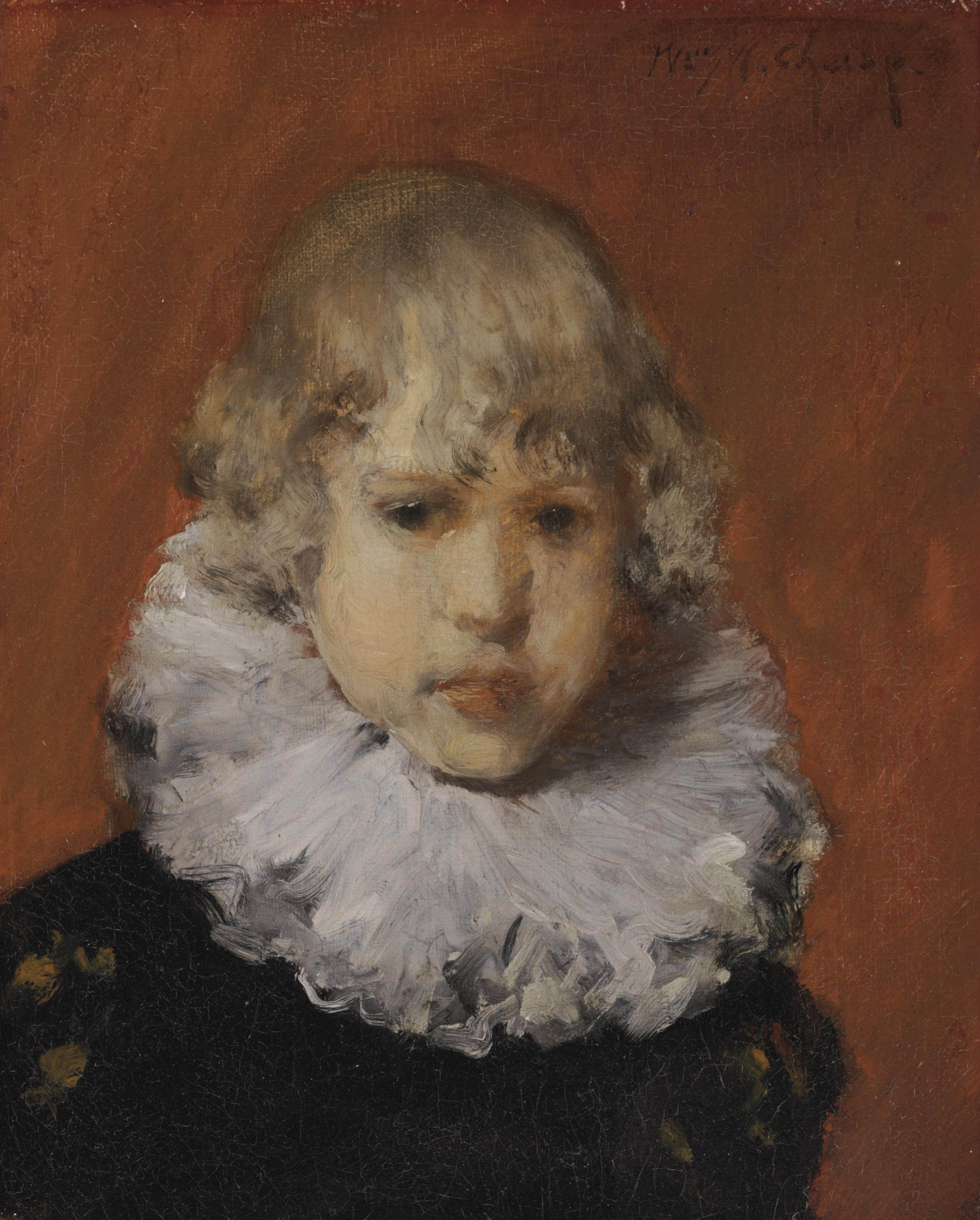 Young Boy with White Ruffled Collar