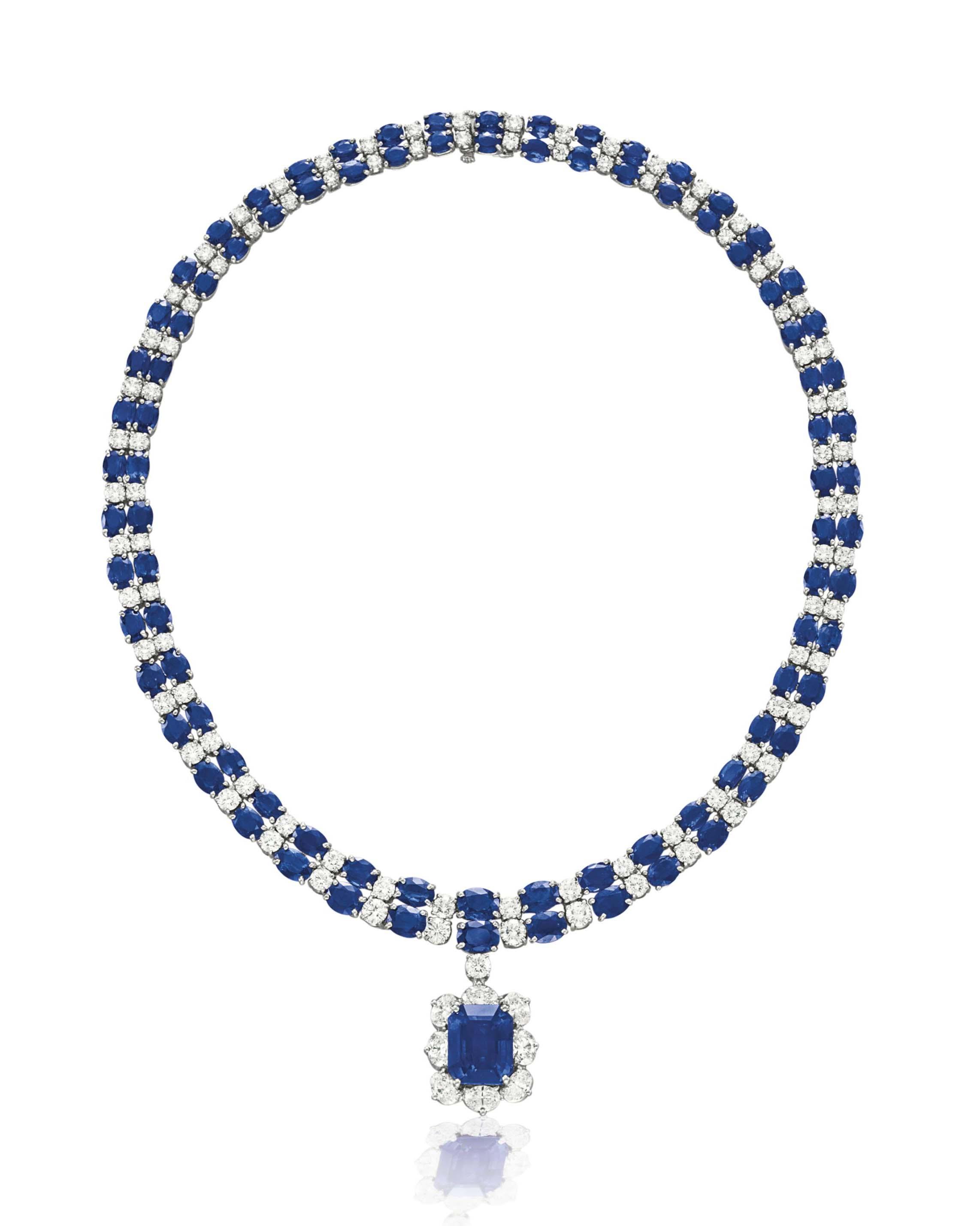 A SAPPHIRE AND DIAMOND NECKLACE, BY OSCAR HEYMAN & BROTHERS