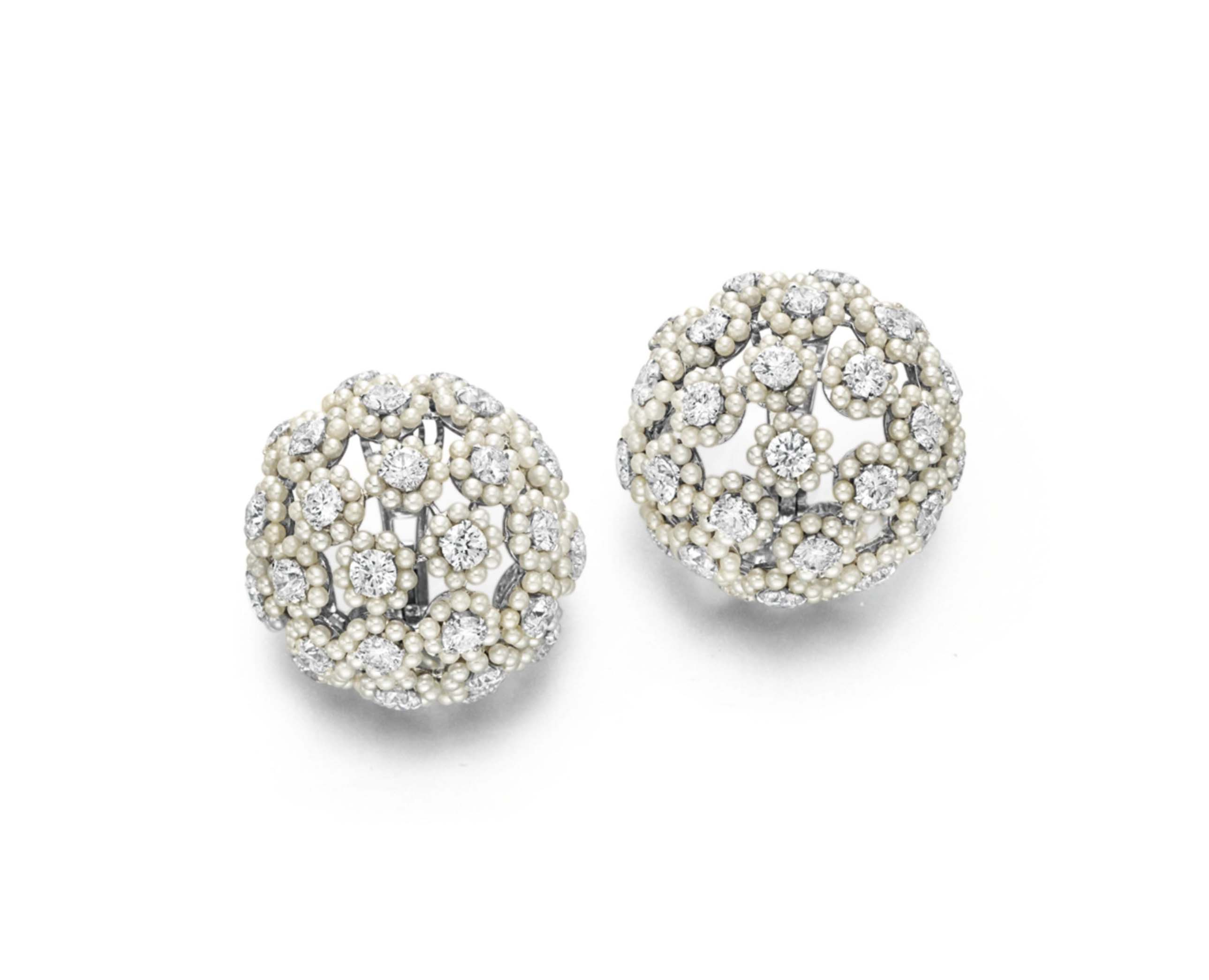 A PAIR OF DIAMOND AND PEARL EAR CLIPS, BY BHAGAT