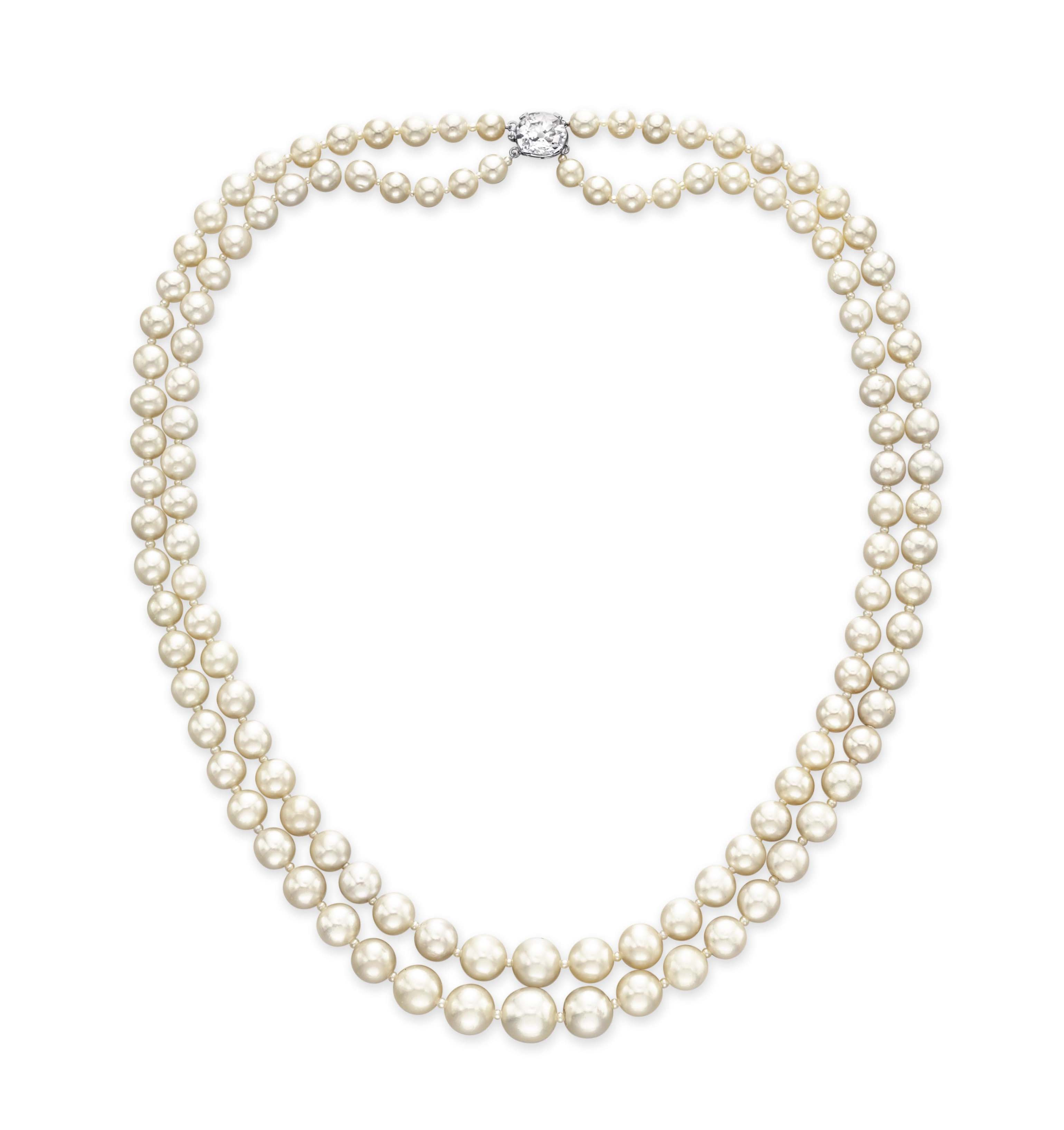 A TWO-STRAND NATURAL PEARL NECKLACE